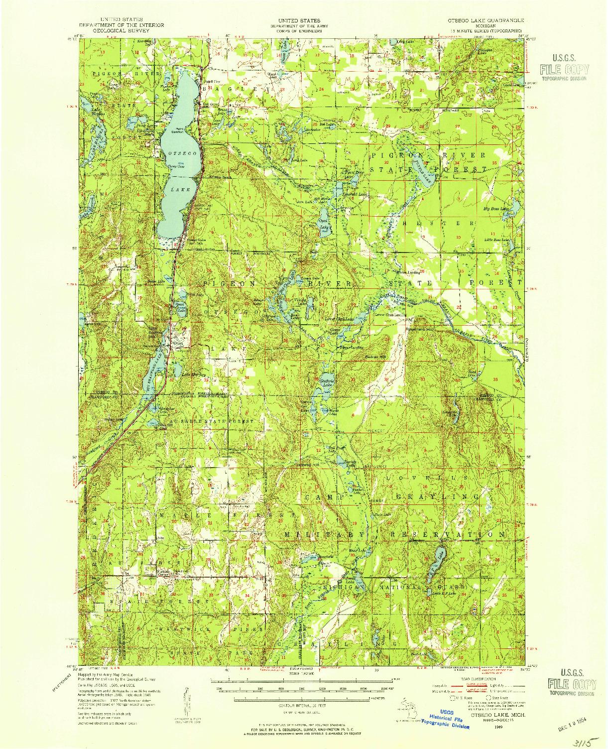 USGS 1:62500-SCALE QUADRANGLE FOR OTSEGO LAKE, MI 1949