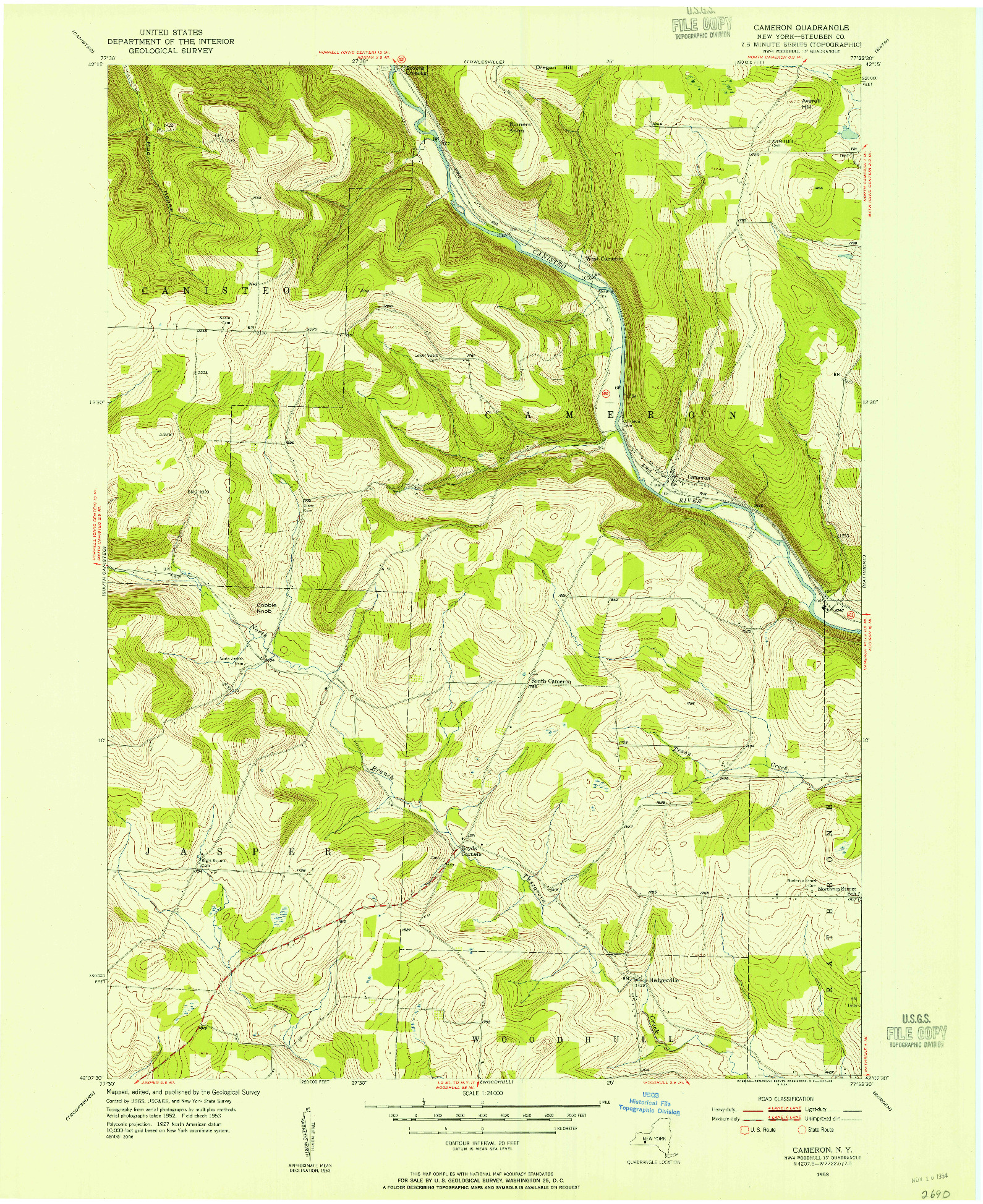 USGS 1:24000-SCALE QUADRANGLE FOR CAMERON, NY 1953
