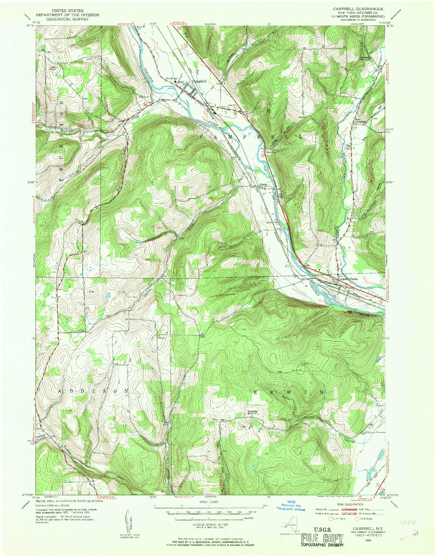 USGS 1:24000-SCALE QUADRANGLE FOR CAMPBELL, NY 1953