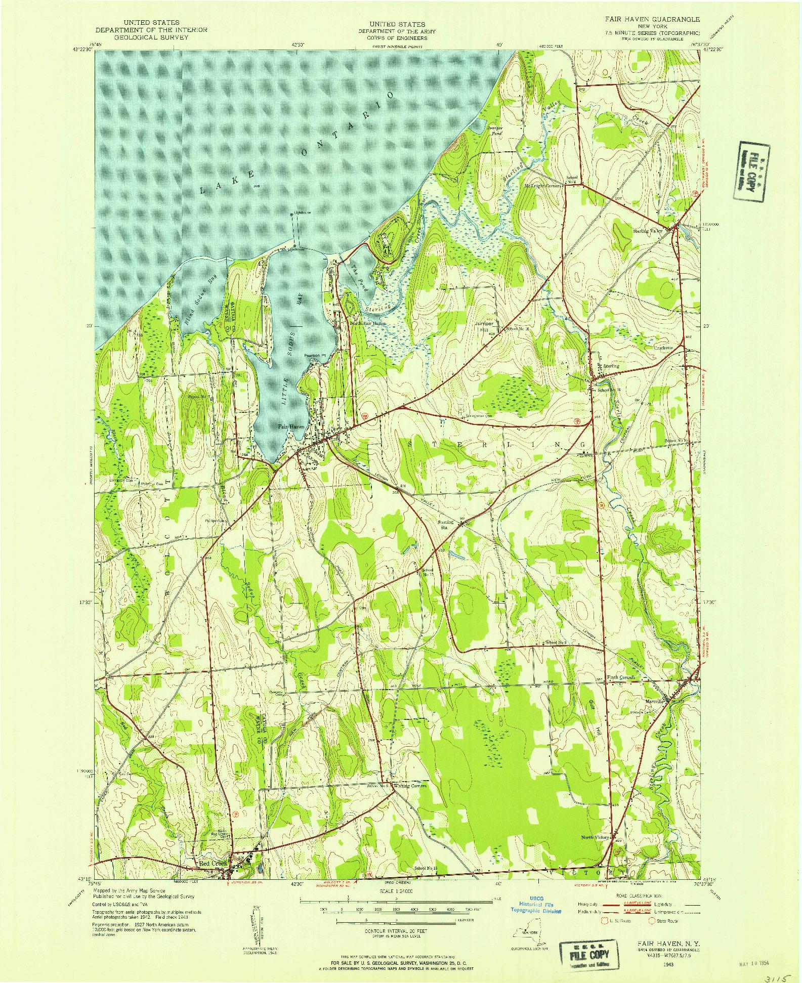 USGS 1:24000-SCALE QUADRANGLE FOR FAIR HAVEN, NY 1943
