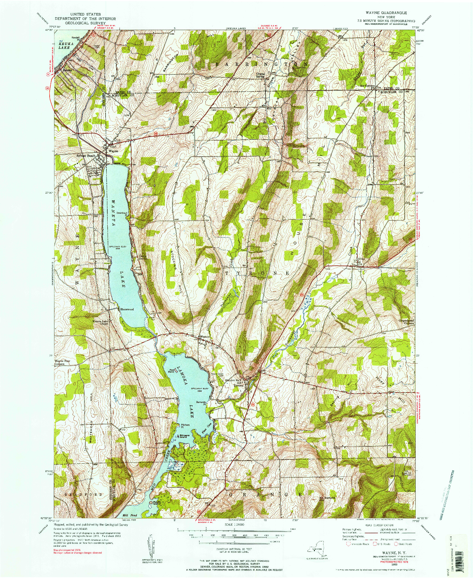 USGS 1:24000-SCALE QUADRANGLE FOR WAYNE, NY 1953