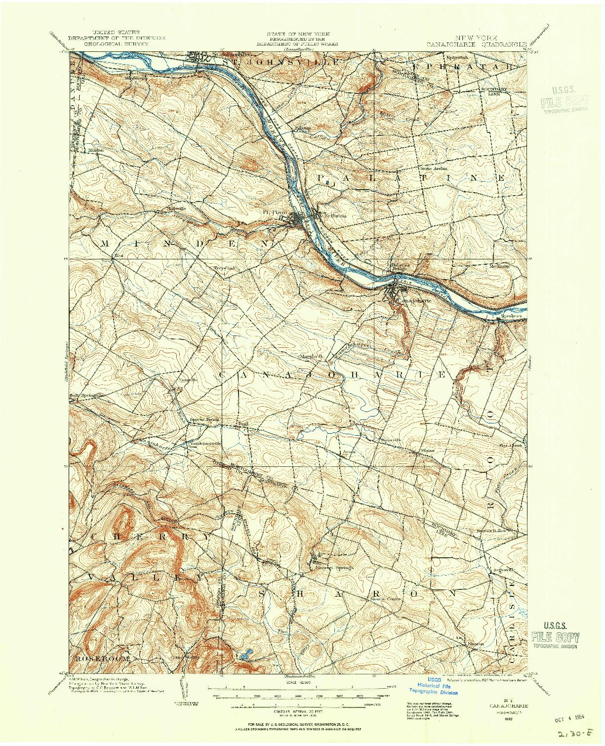 USGS 1:62500-SCALE QUADRANGLE FOR CANAJOHARIE, NY 1898