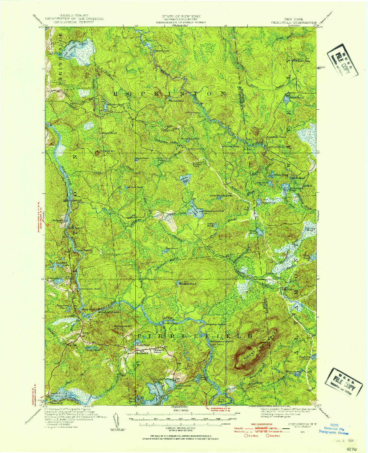 USGS 1:62500-SCALE QUADRANGLE FOR CHILDWOLD, NY 1920