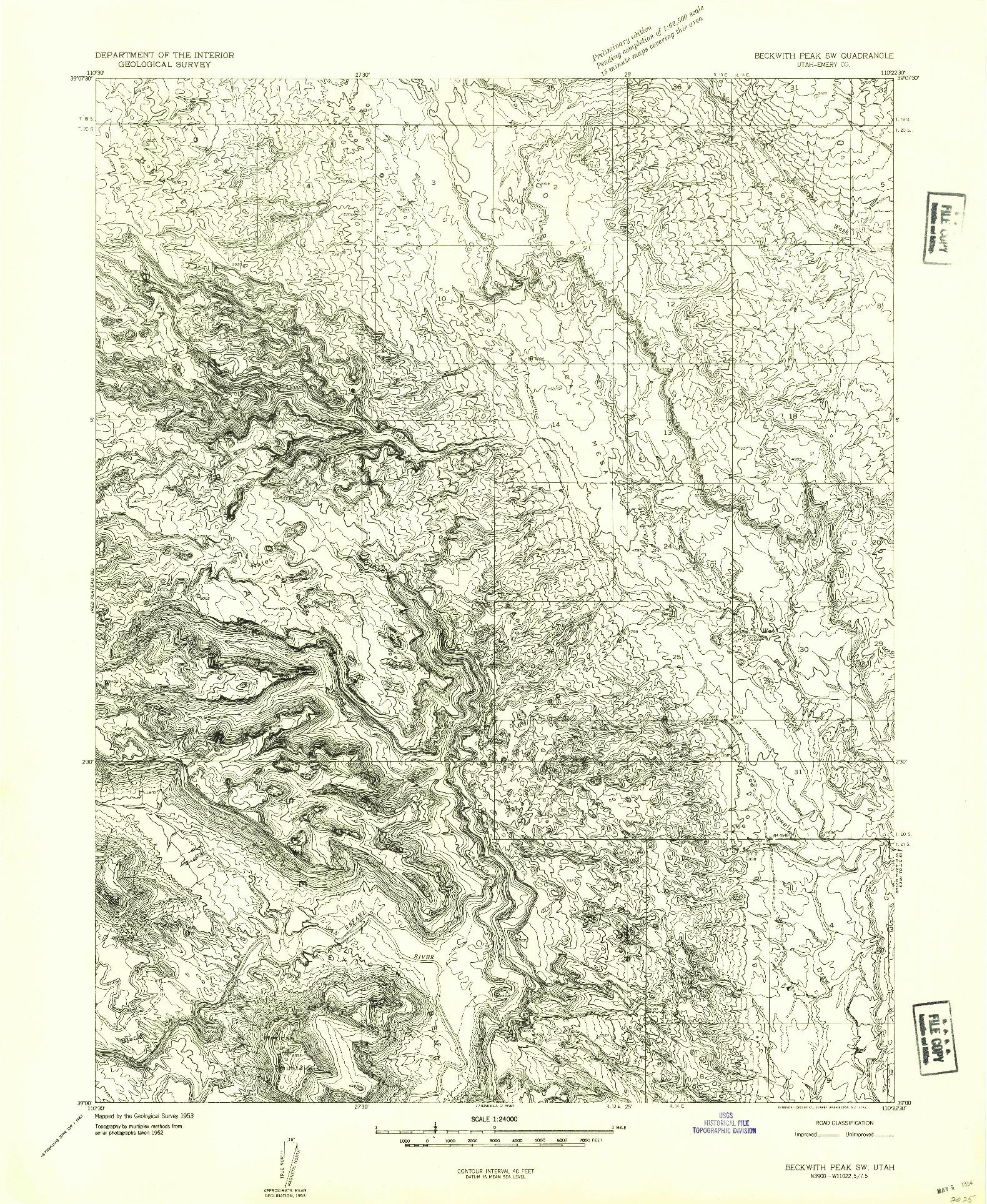 USGS 1:24000-SCALE QUADRANGLE FOR BECKWITH PEAK SW, UT 1953