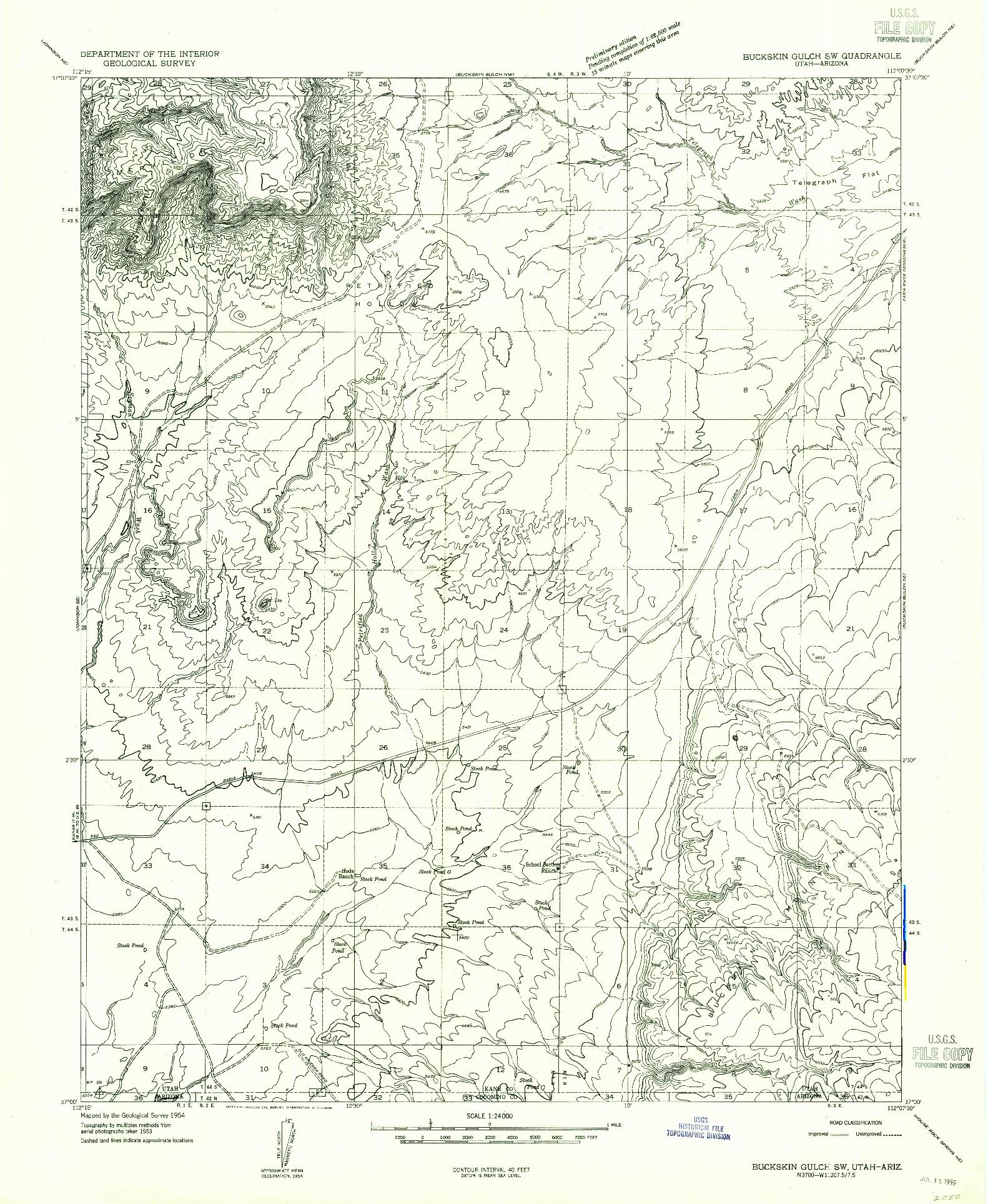 USGS 1:24000-SCALE QUADRANGLE FOR BUCKSKIN GULCH SW, UT 1954