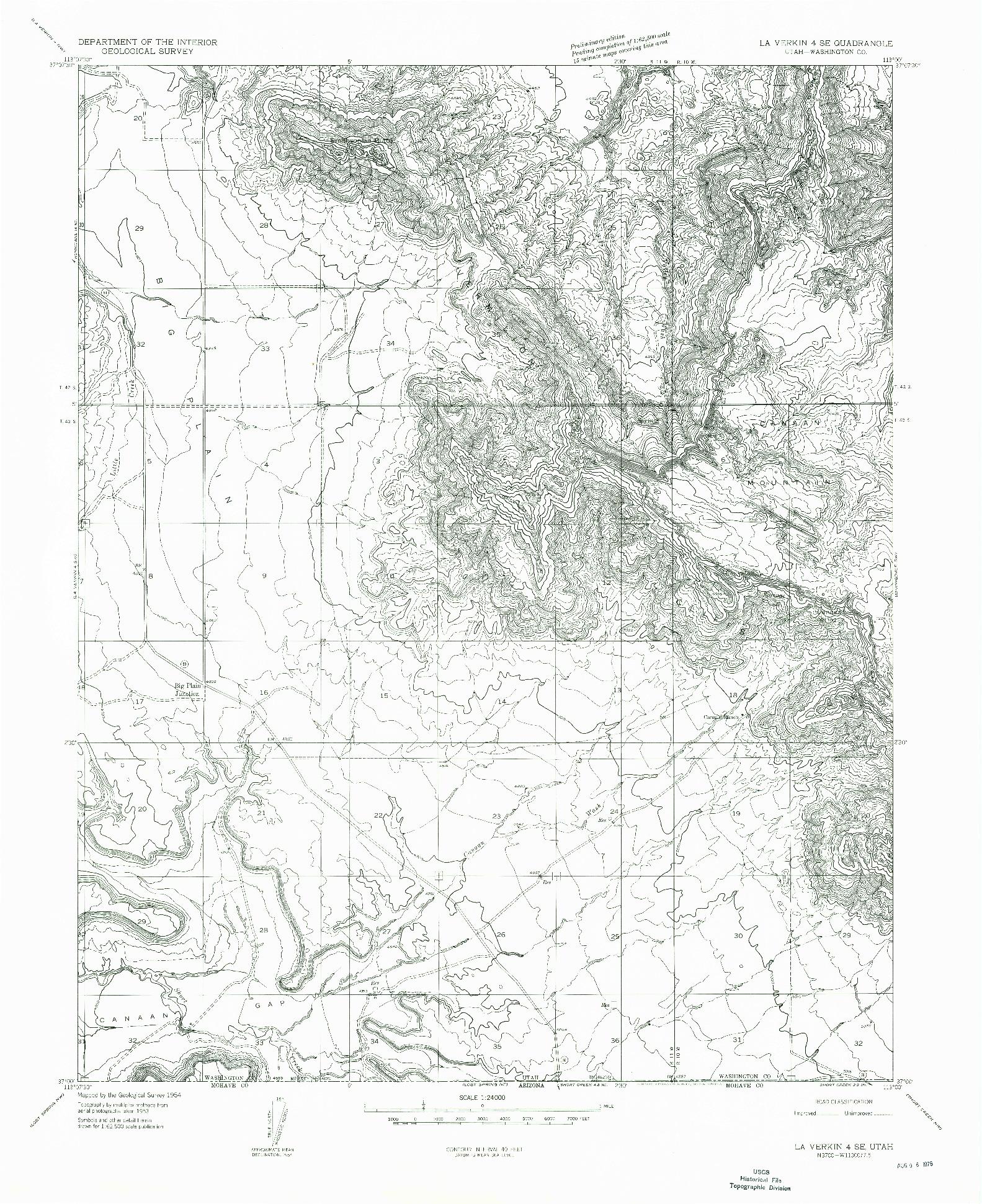 USGS 1:24000-SCALE QUADRANGLE FOR LA VERKIN 4 SE, UT 1954