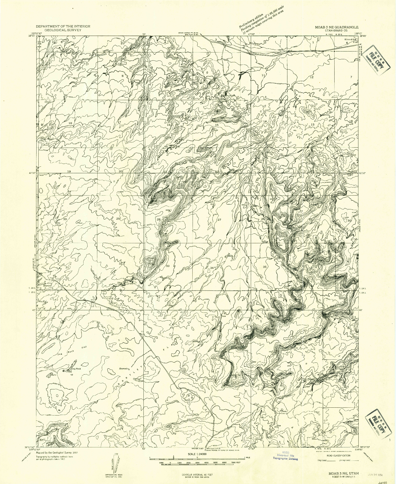 USGS 1:24000-SCALE QUADRANGLE FOR MOAB 3 NE, UT 1952
