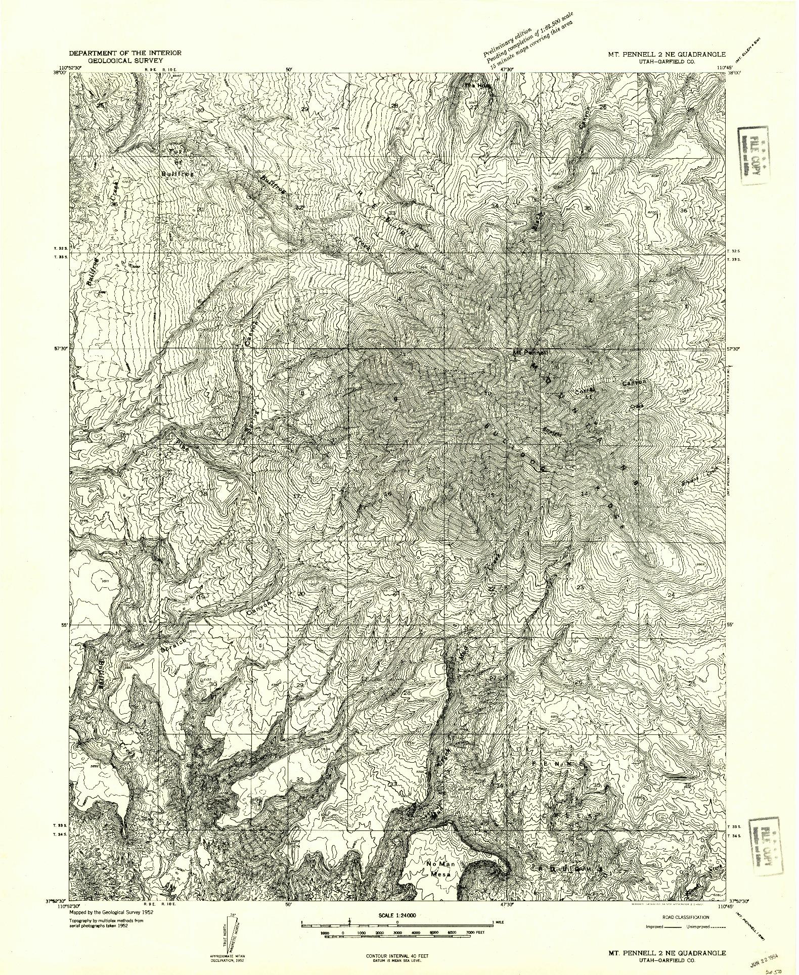USGS 1:24000-SCALE QUADRANGLE FOR MT PENNELL 2 NE, UT 1952