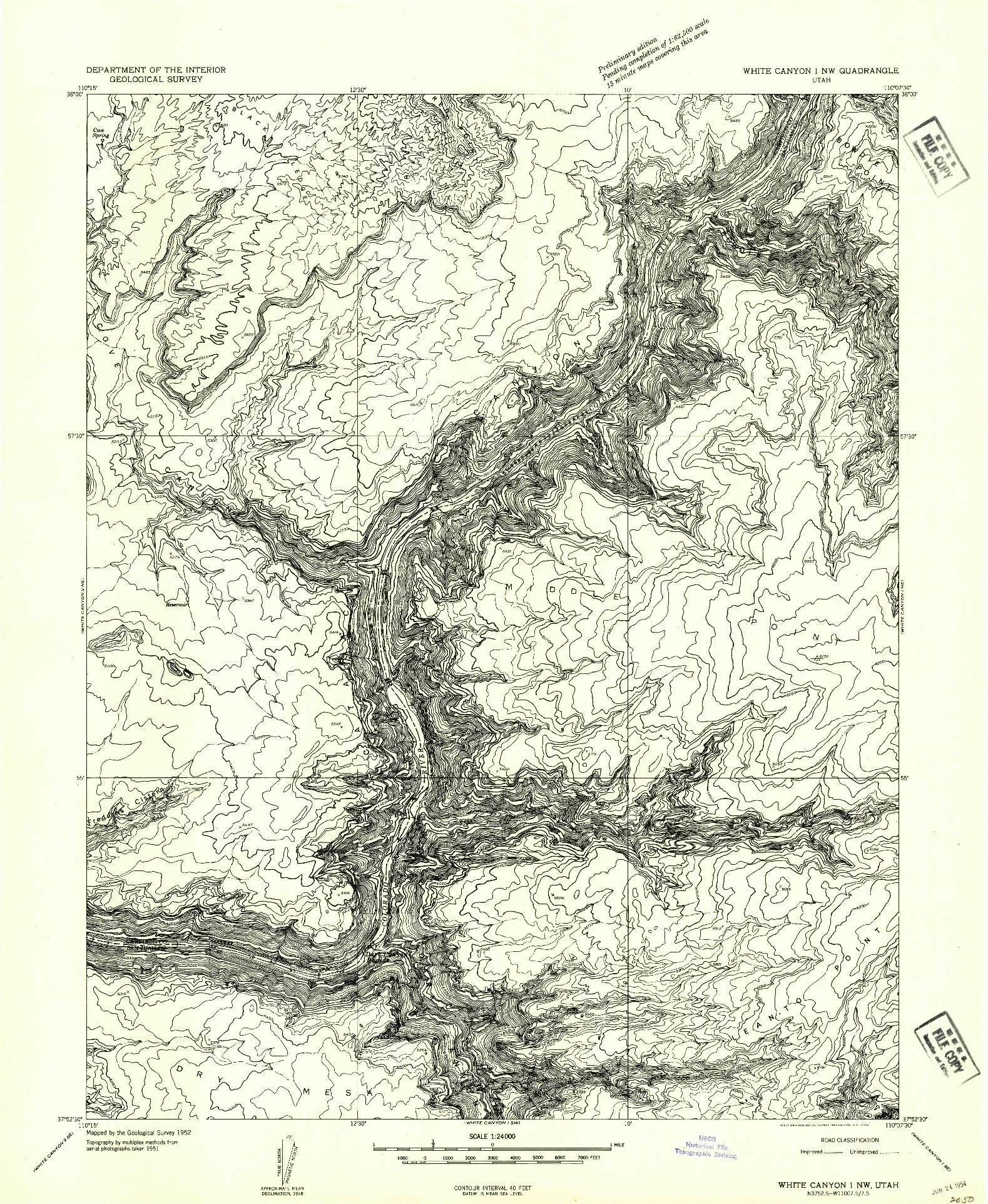 USGS 1:24000-SCALE QUADRANGLE FOR WHITE CANYON 1 NW, UT 1954