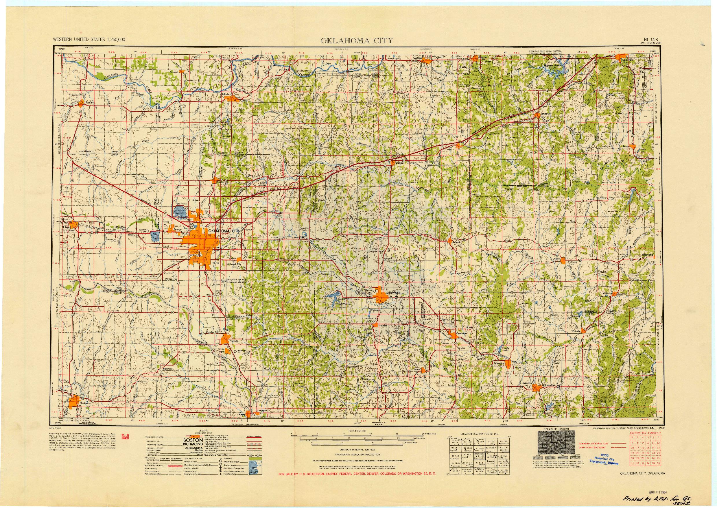 USGS 1:250000-SCALE QUADRANGLE FOR OKLAHOMA CITY, OK 1954