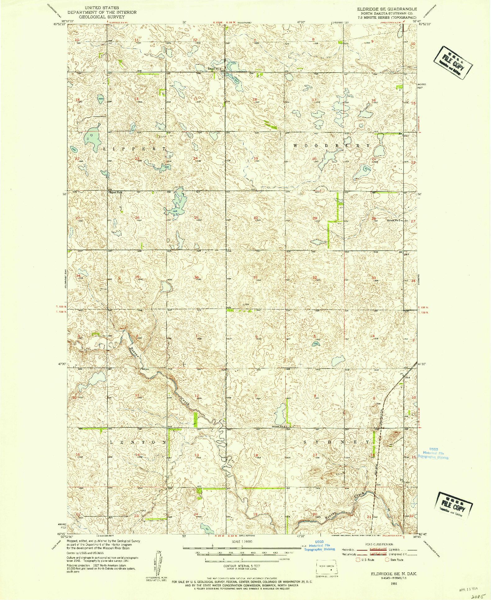 USGS 1:24000-SCALE QUADRANGLE FOR ELDRIDGE SE, ND 1951
