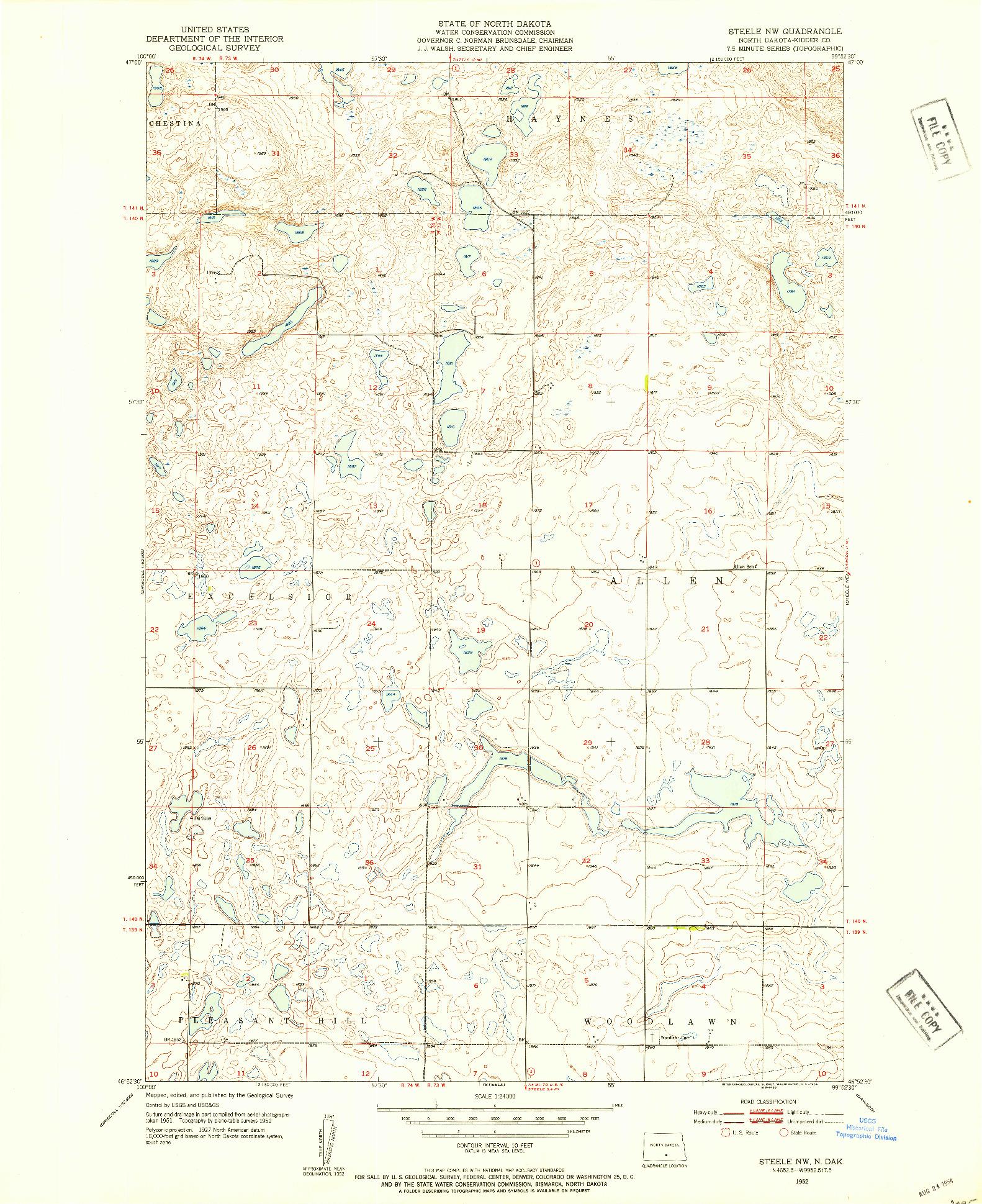 USGS 1:24000-SCALE QUADRANGLE FOR STEELE NW, ND 1952