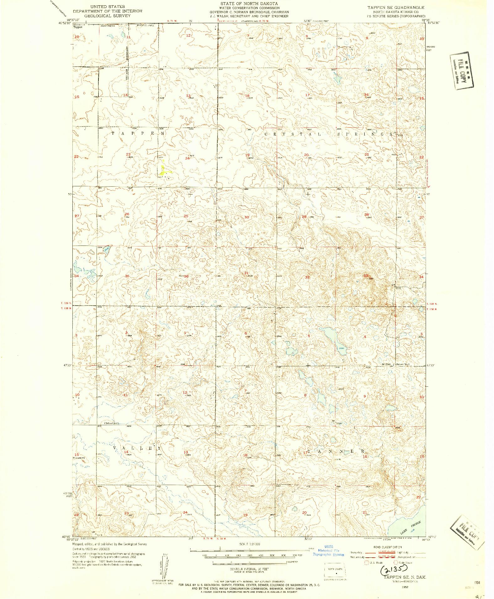 USGS 1:24000-SCALE QUADRANGLE FOR TAPPEN SE, ND 1952