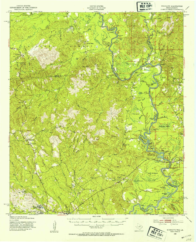 USGS 1:62500-SCALE QUADRANGLE FOR WIERGATE, TX 1948