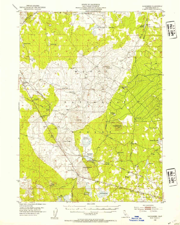 USGS 1:62500-SCALE QUADRANGLE FOR HACKAMORE, CA 1952
