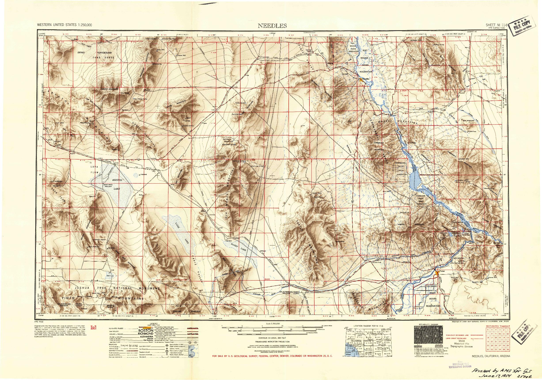 USGS 1:250000-SCALE QUADRANGLE FOR NEEDLES, CA 1954