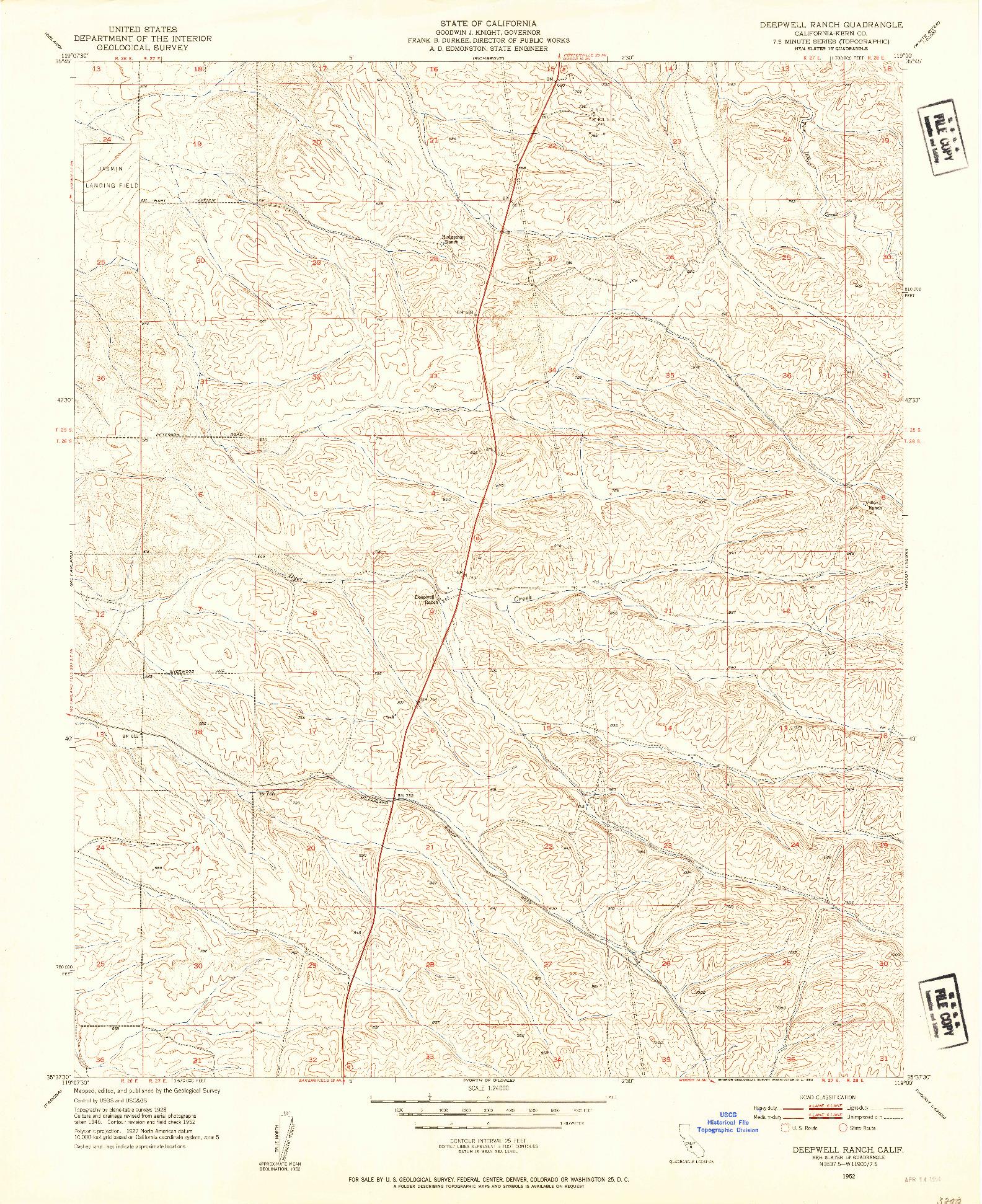 USGS 1:24000-SCALE QUADRANGLE FOR DEEPWELL RANCH, CA 1952