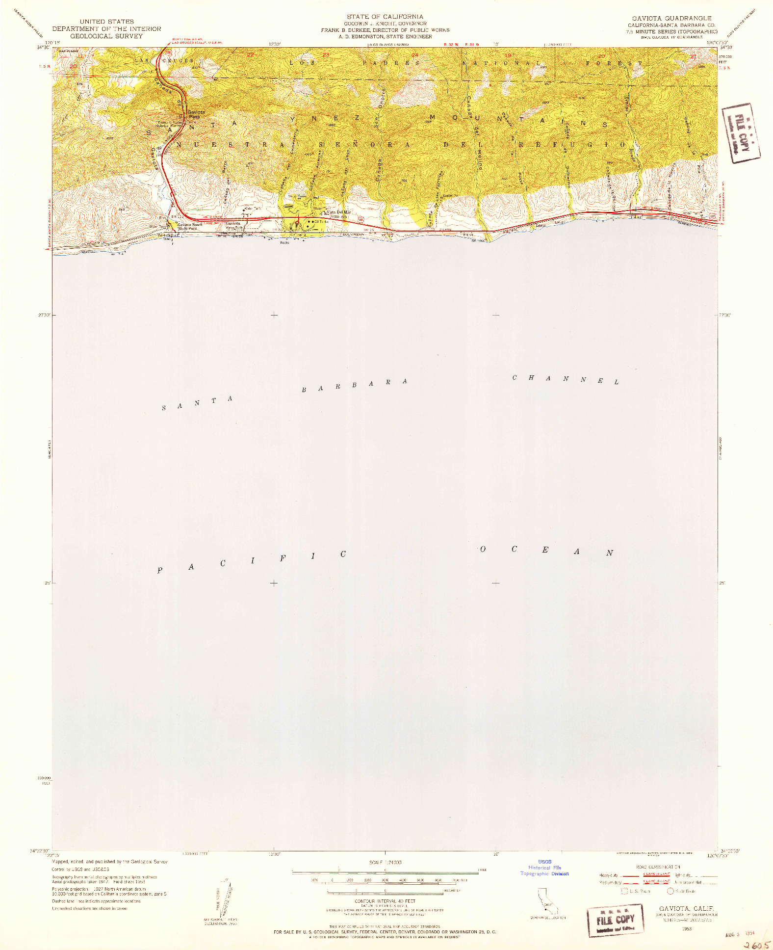 USGS 1:24000-SCALE QUADRANGLE FOR GAVIOTA, CA 1953