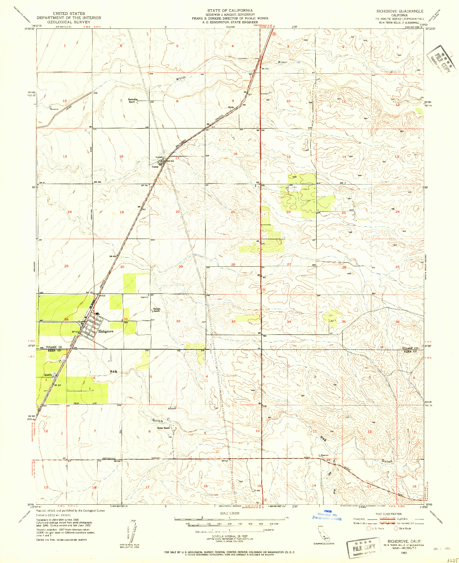 USGS 1:24000-SCALE QUADRANGLE FOR RICHGROVE, CA 1952