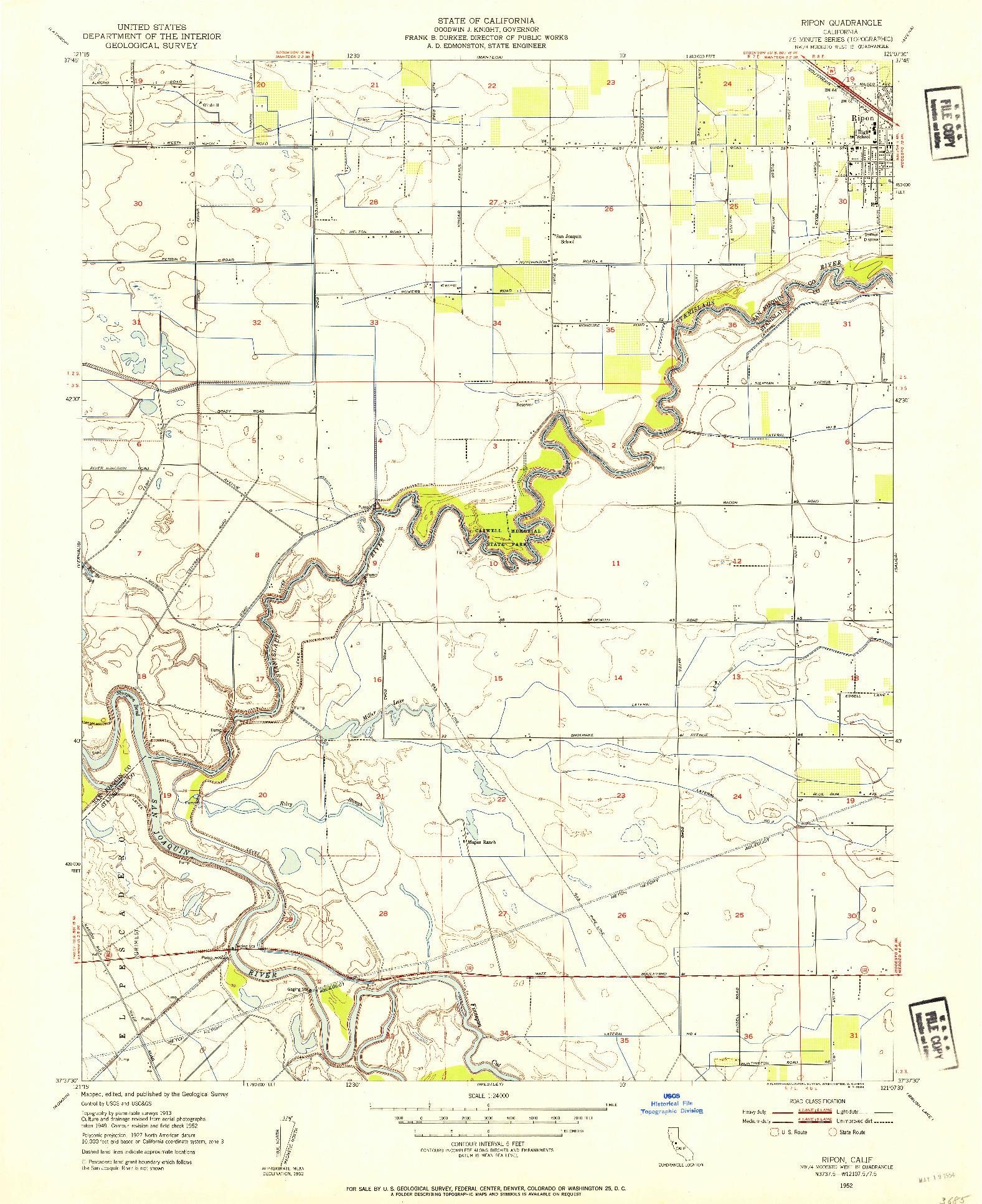 USGS 1:24000-SCALE QUADRANGLE FOR RIPON, CA 1952