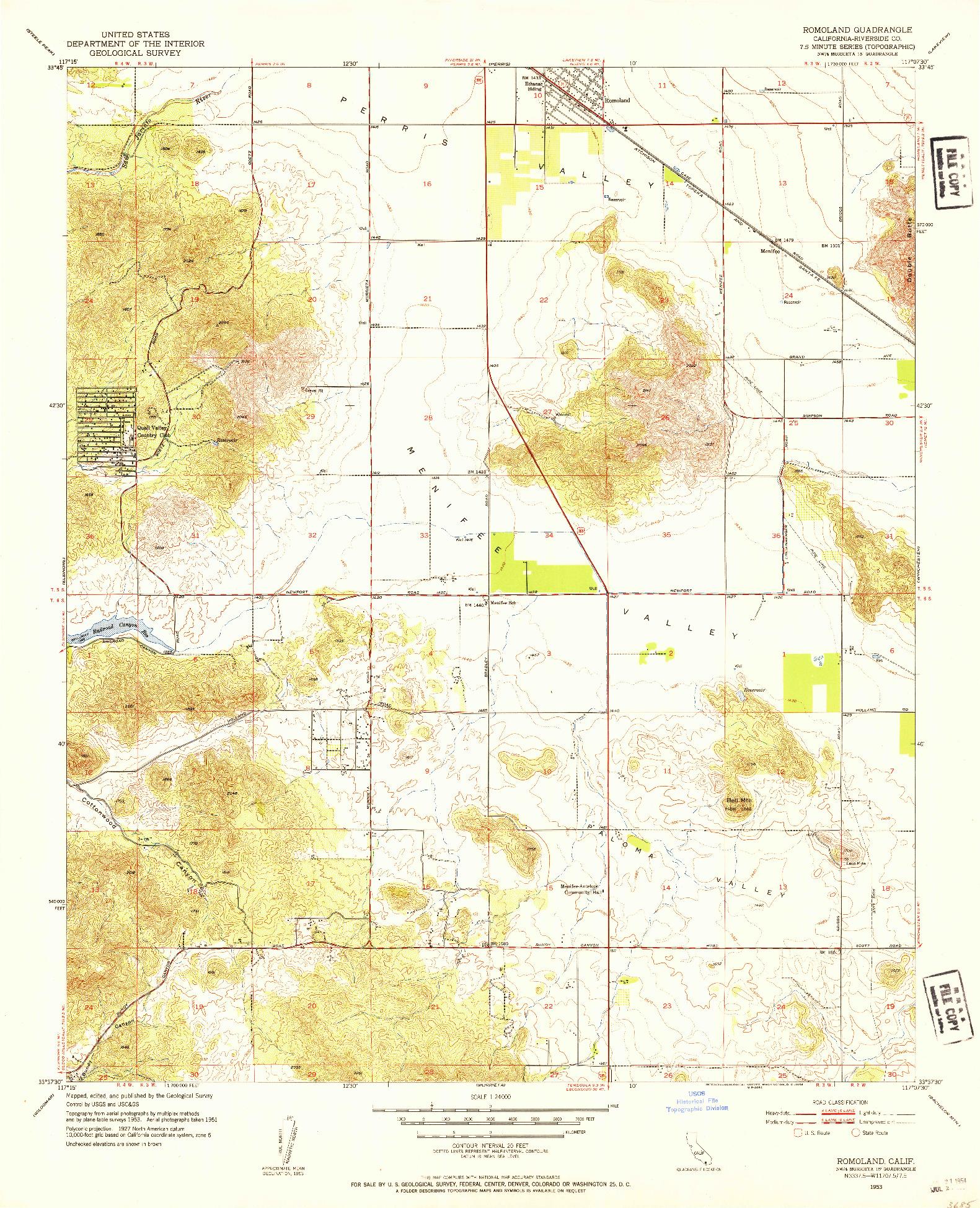USGS 1:24000-SCALE QUADRANGLE FOR ROMOLAND, CA 1953