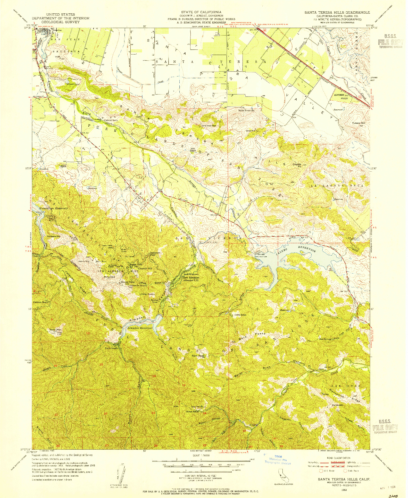 USGS 1:24000-SCALE QUADRANGLE FOR SANTA TERESA HILLS, CA 1953