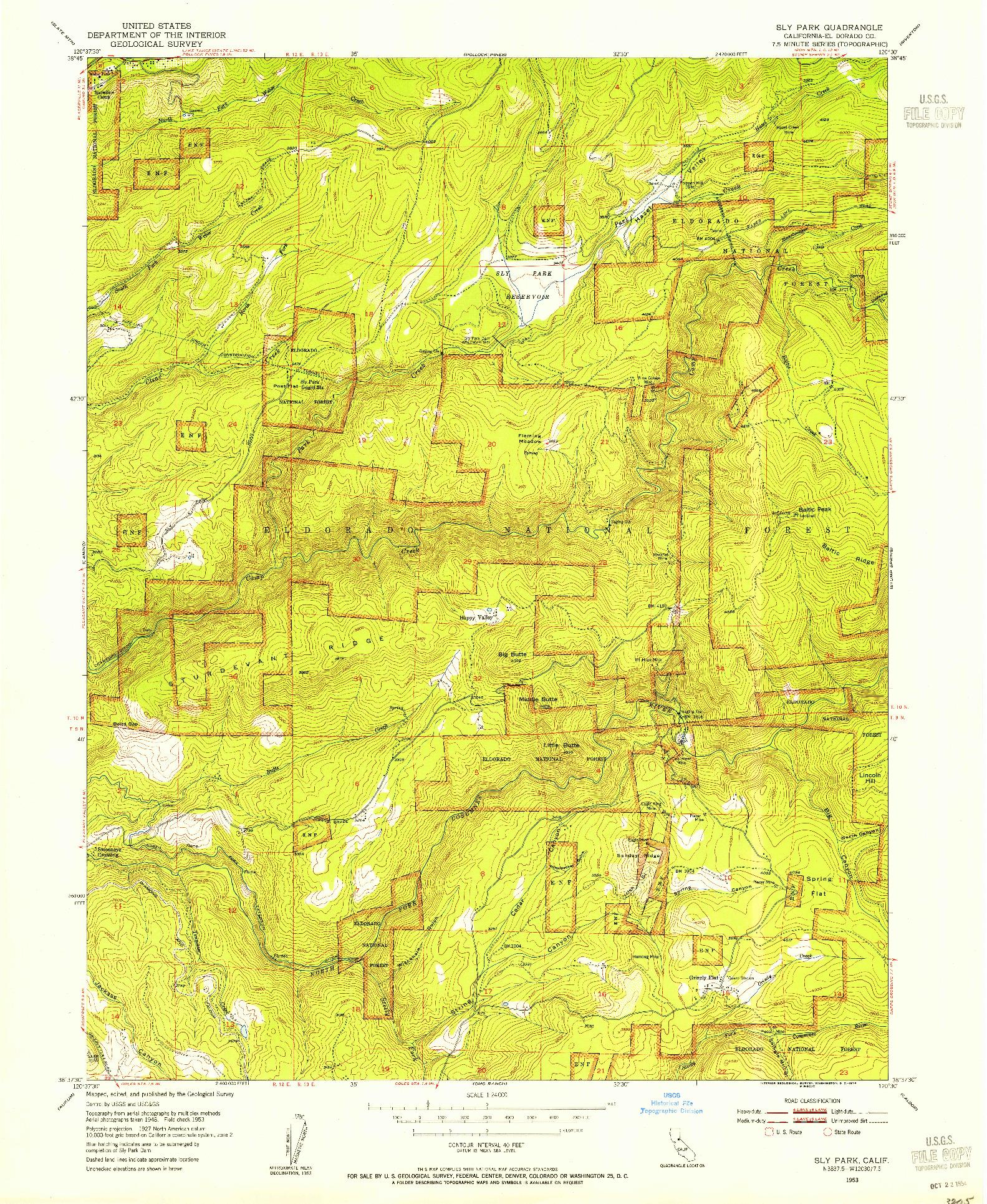 USGS 1:24000-SCALE QUADRANGLE FOR SLY PARK, CA 1953