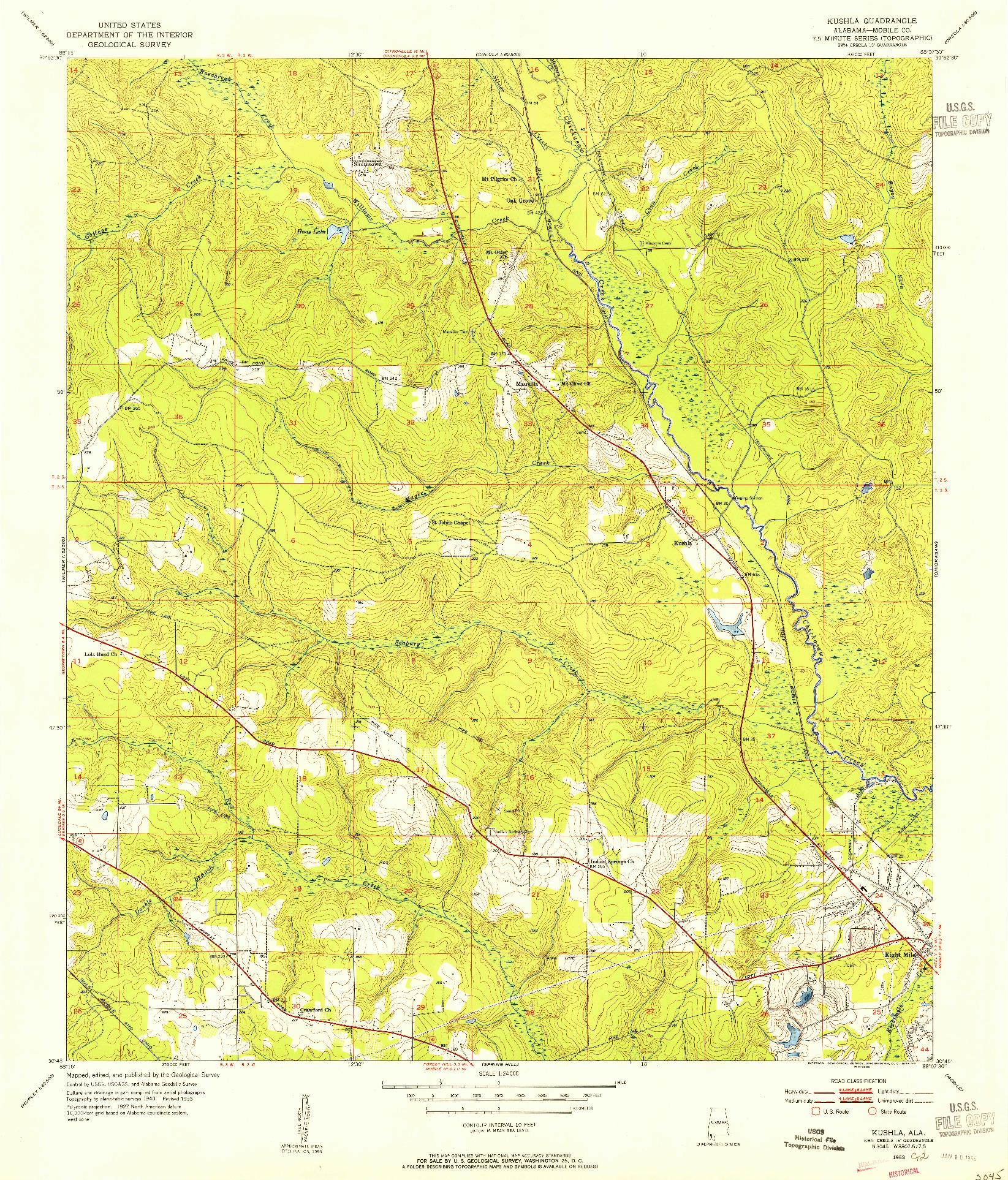 USGS 1:24000-SCALE QUADRANGLE FOR KUSHLA, AL 1953