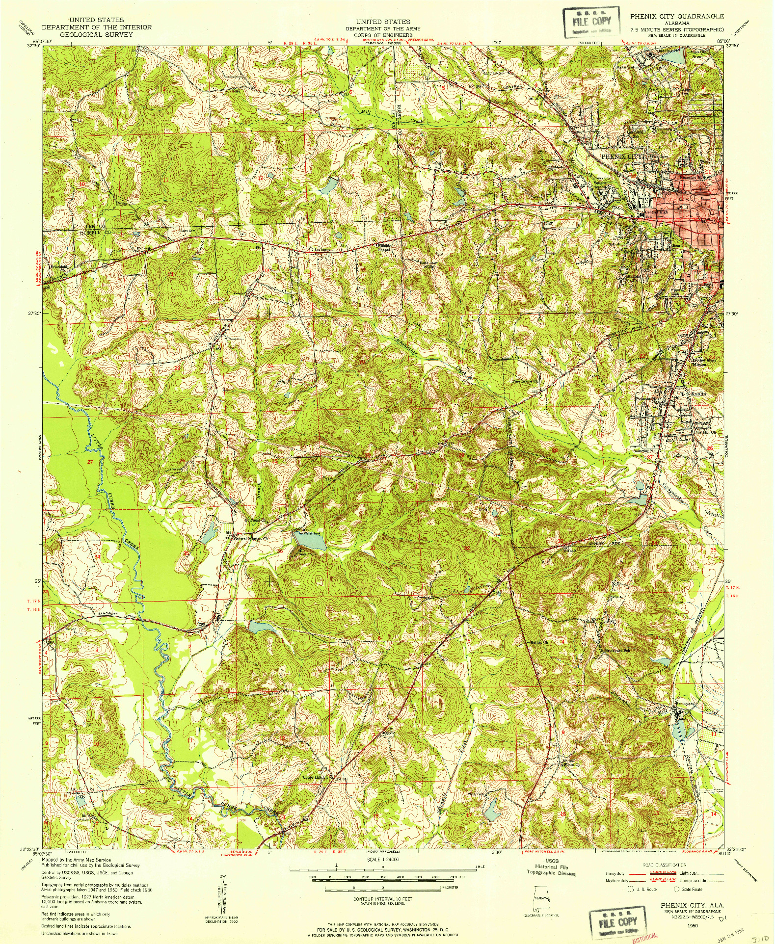 USGS 1:24000-SCALE QUADRANGLE FOR PHENIX CITY, AL 1950