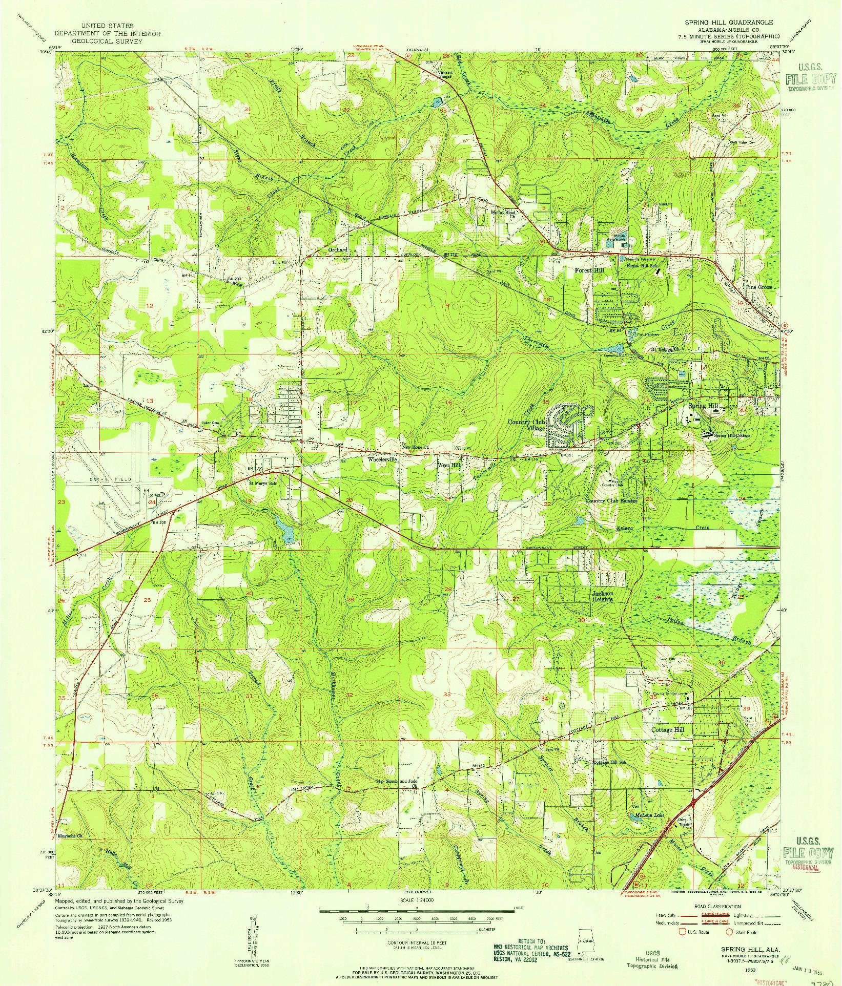 USGS 1:24000-SCALE QUADRANGLE FOR SPRING HILL, AL 1953