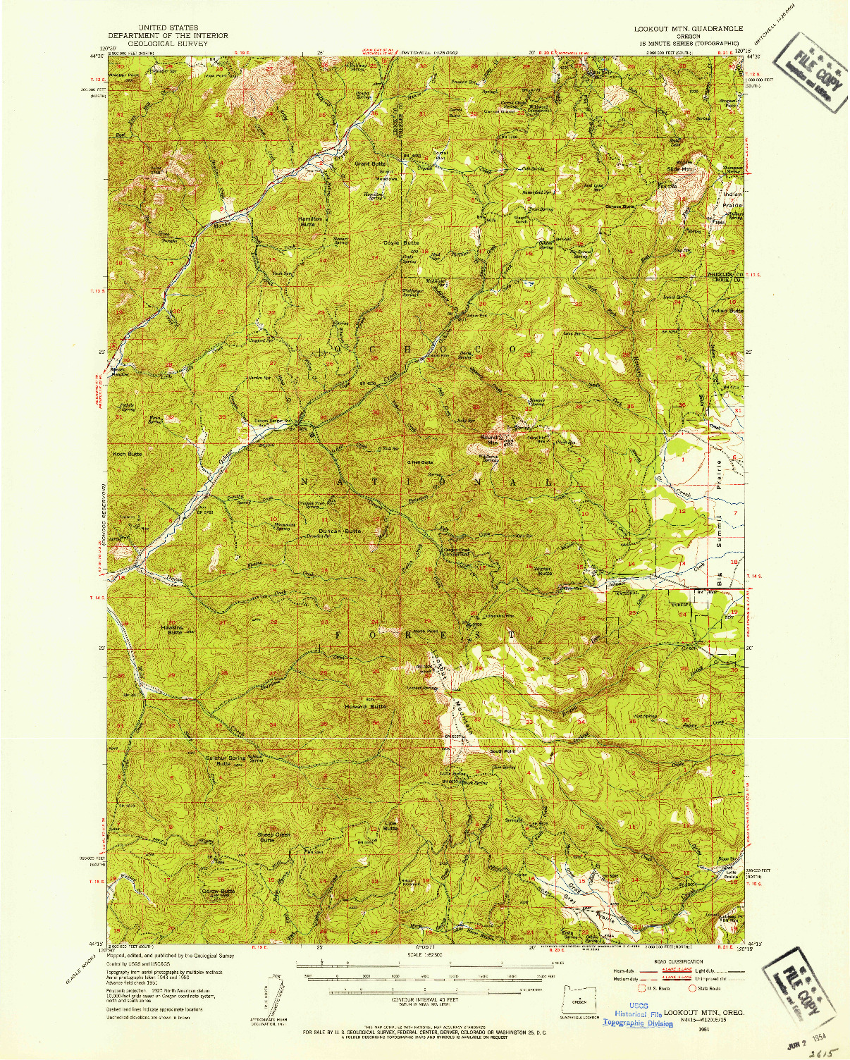 USGS 1:62500-SCALE QUADRANGLE FOR LOOKOUT MTN, OR 1951