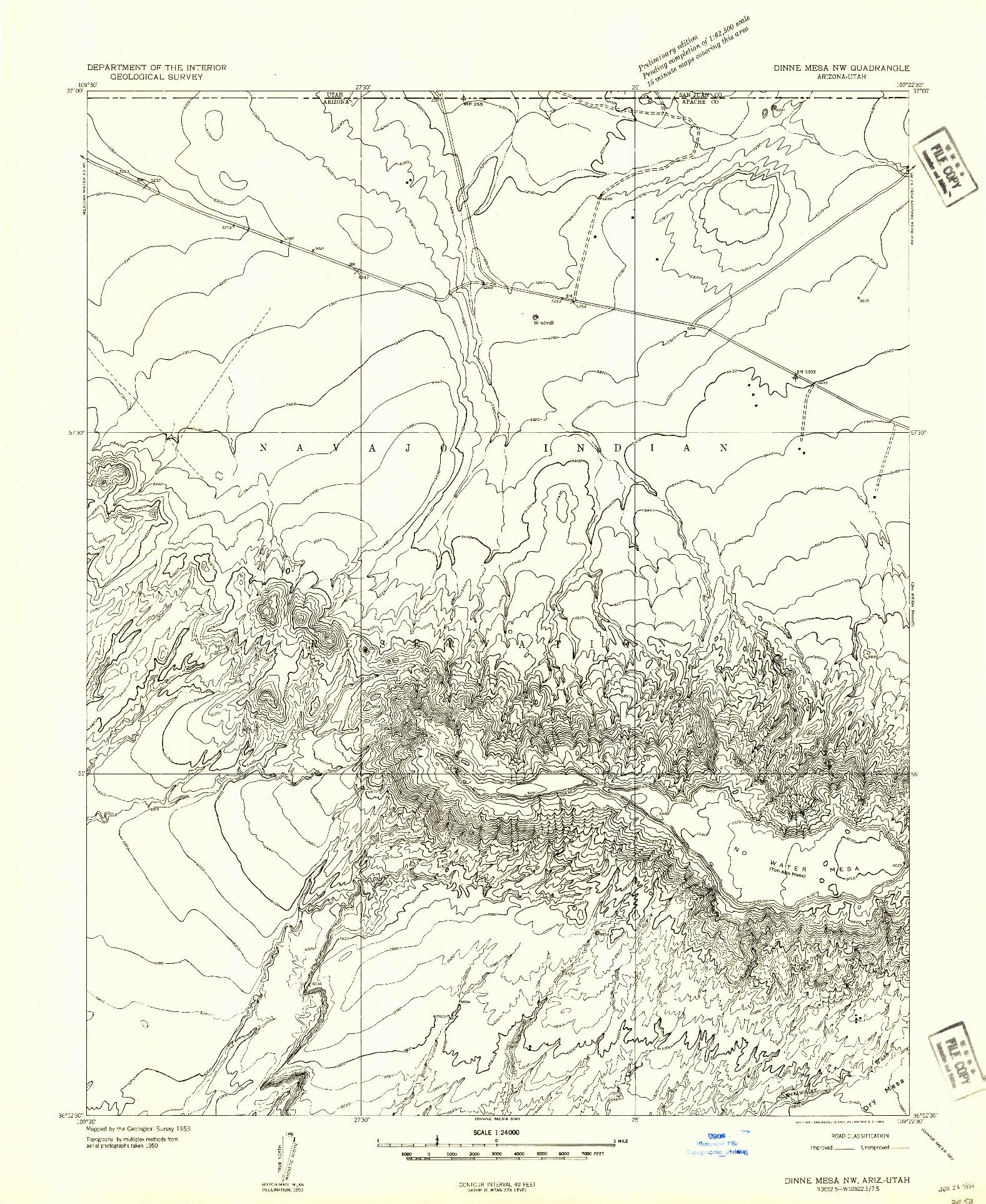 USGS 1:24000-SCALE QUADRANGLE FOR DINNE MESA NW, AZ 1953