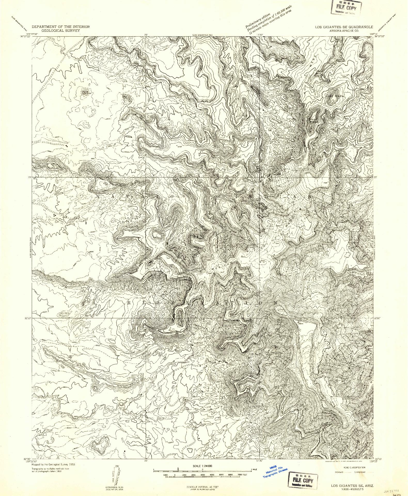USGS 1:24000-SCALE QUADRANGLE FOR LOS GIGANTES SE, AZ 1953