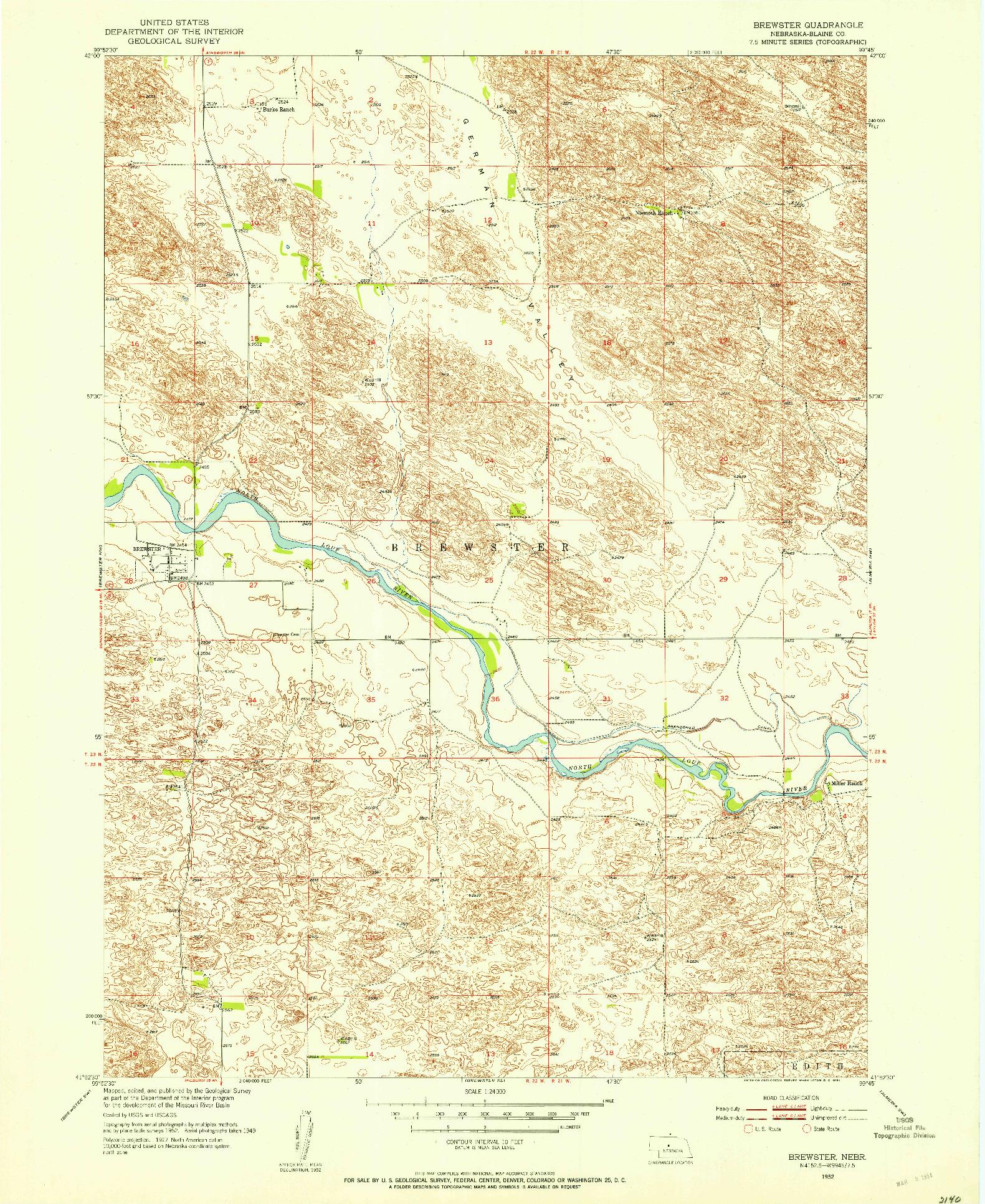USGS 1:24000-SCALE QUADRANGLE FOR BREWSTER, NE 1952