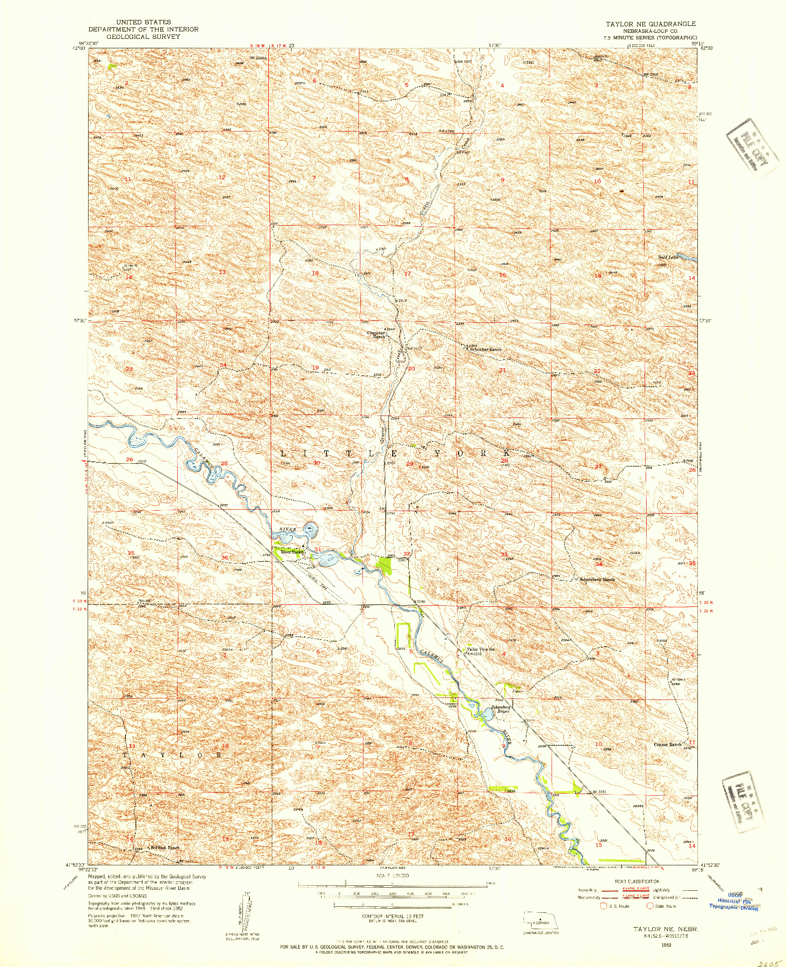 USGS 1:24000-SCALE QUADRANGLE FOR TAYLOR NE, NE 1952