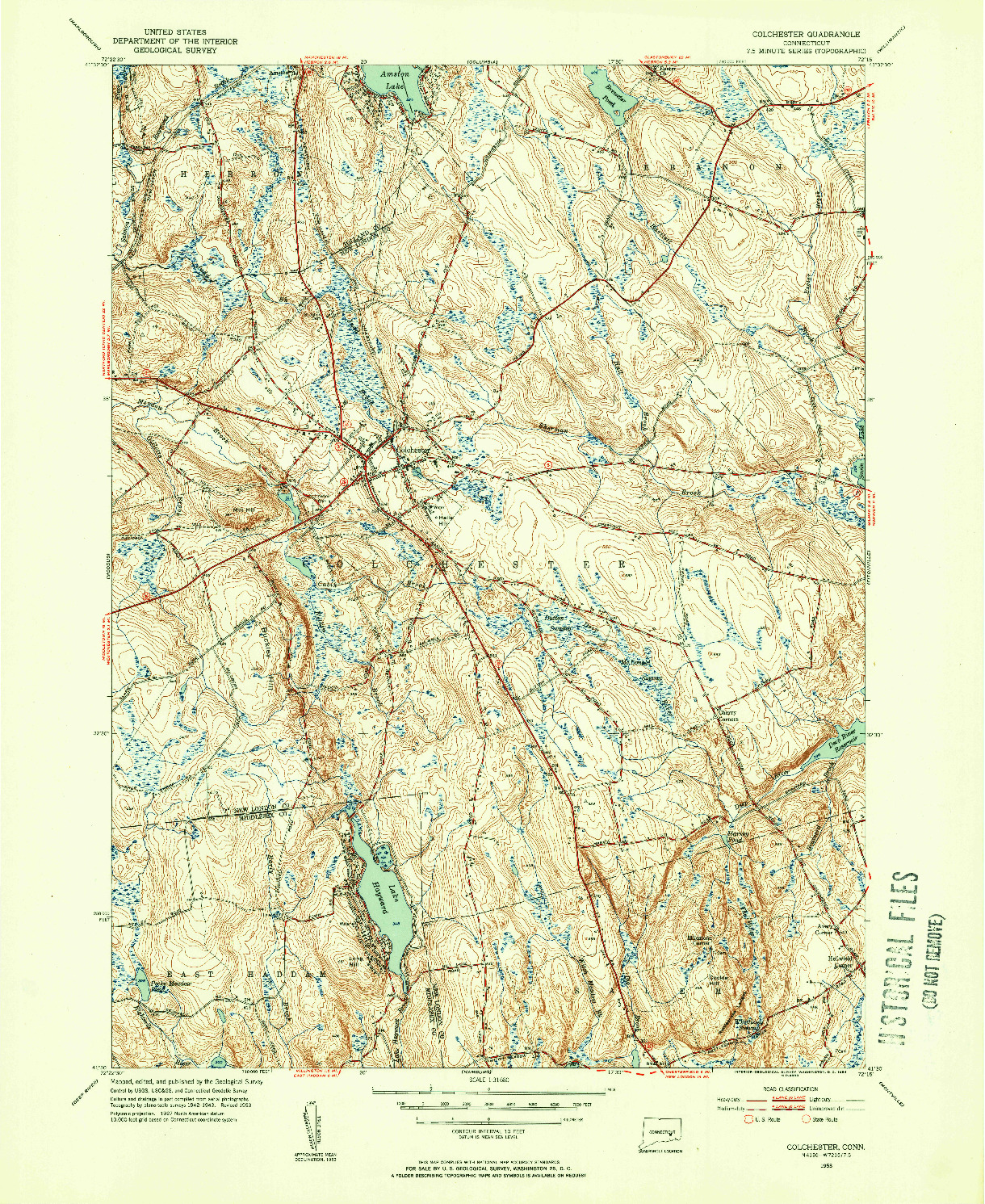 USGS 1:31680-SCALE QUADRANGLE FOR COLCHESTER, CT 1953