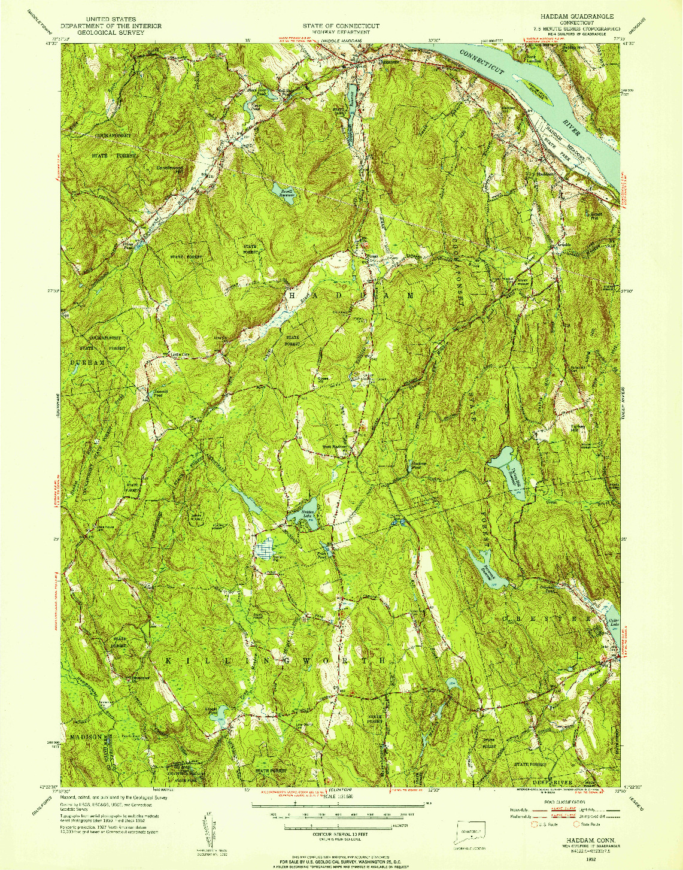 USGS 1:31680-SCALE QUADRANGLE FOR HADDAM, CT 1952