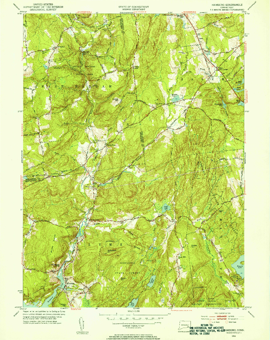 USGS 1:31680-SCALE QUADRANGLE FOR HAMBURG, CT 1952