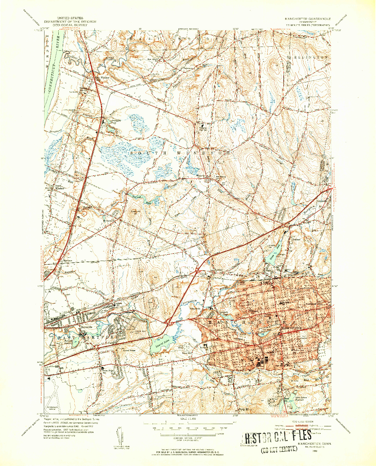 USGS 1:31680-SCALE QUADRANGLE FOR MANCHESTER, CT 1952