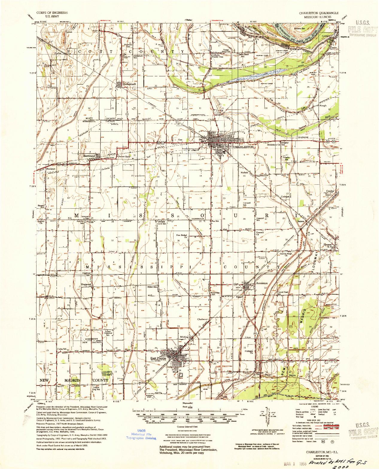USGS 1:62500-SCALE QUADRANGLE FOR CHARLESTON, MO 1954