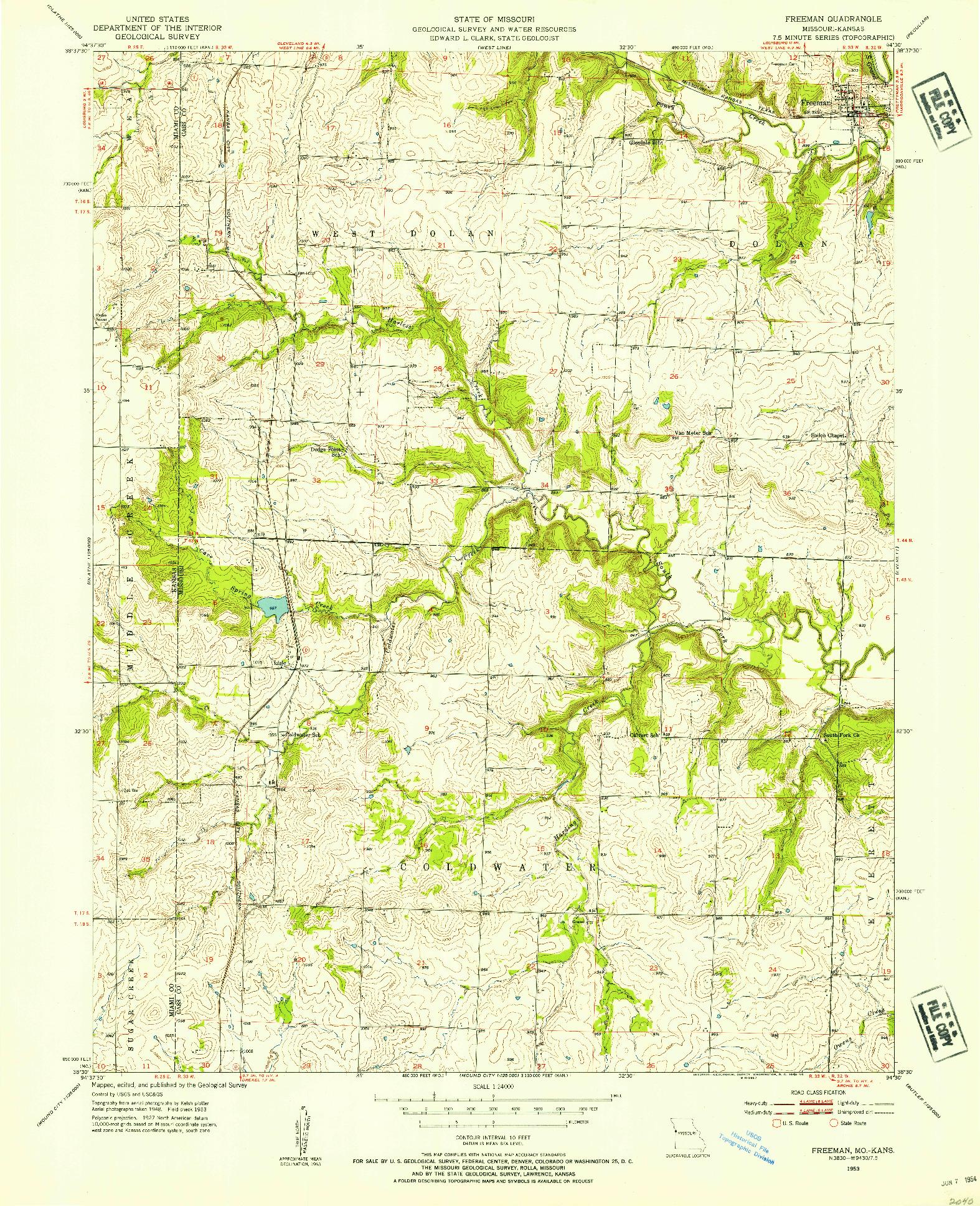 USGS 1:24000-SCALE QUADRANGLE FOR FREEMAN, MO 1953