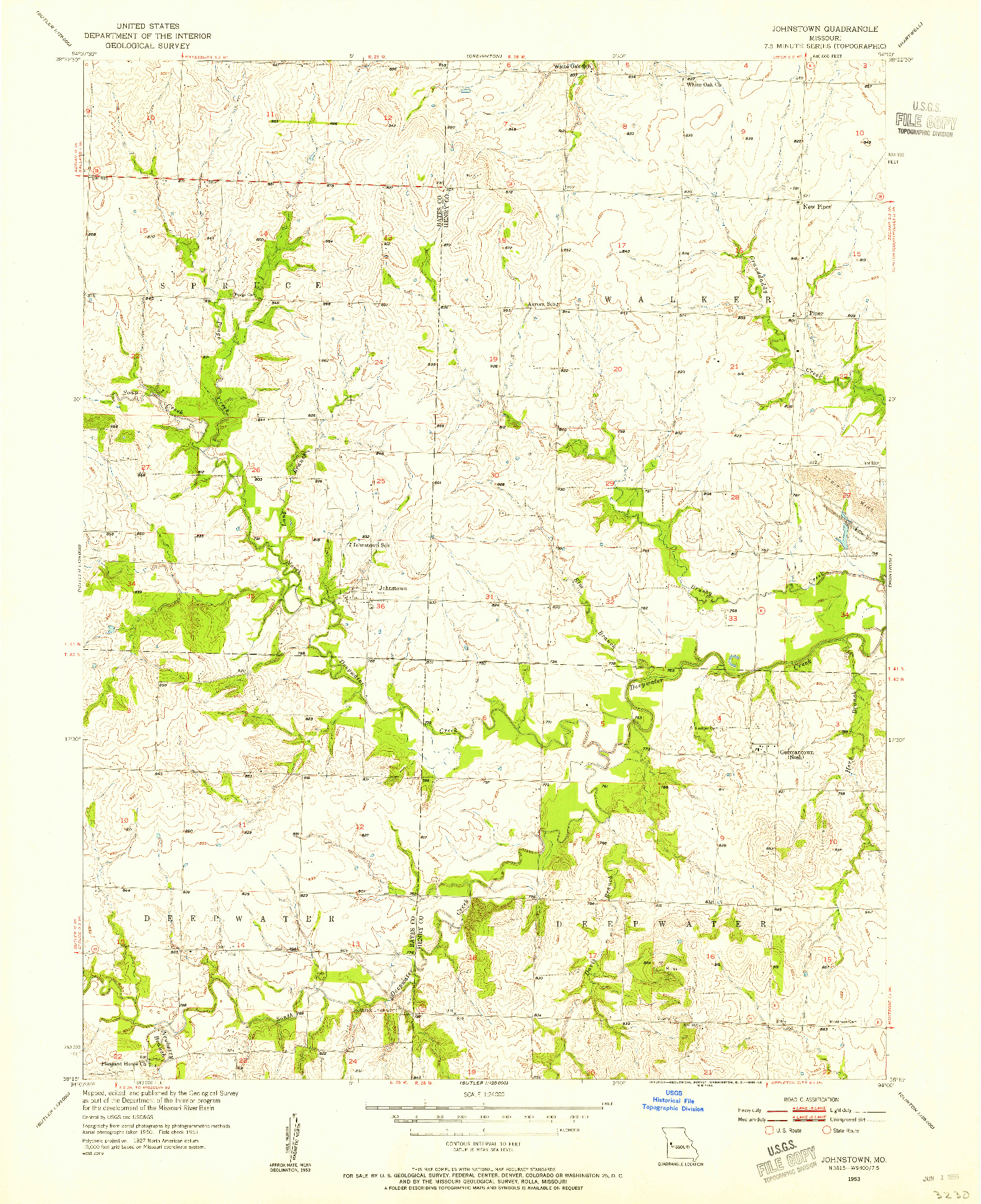 USGS 1:24000-SCALE QUADRANGLE FOR JOHNSTOWN, MO 1953