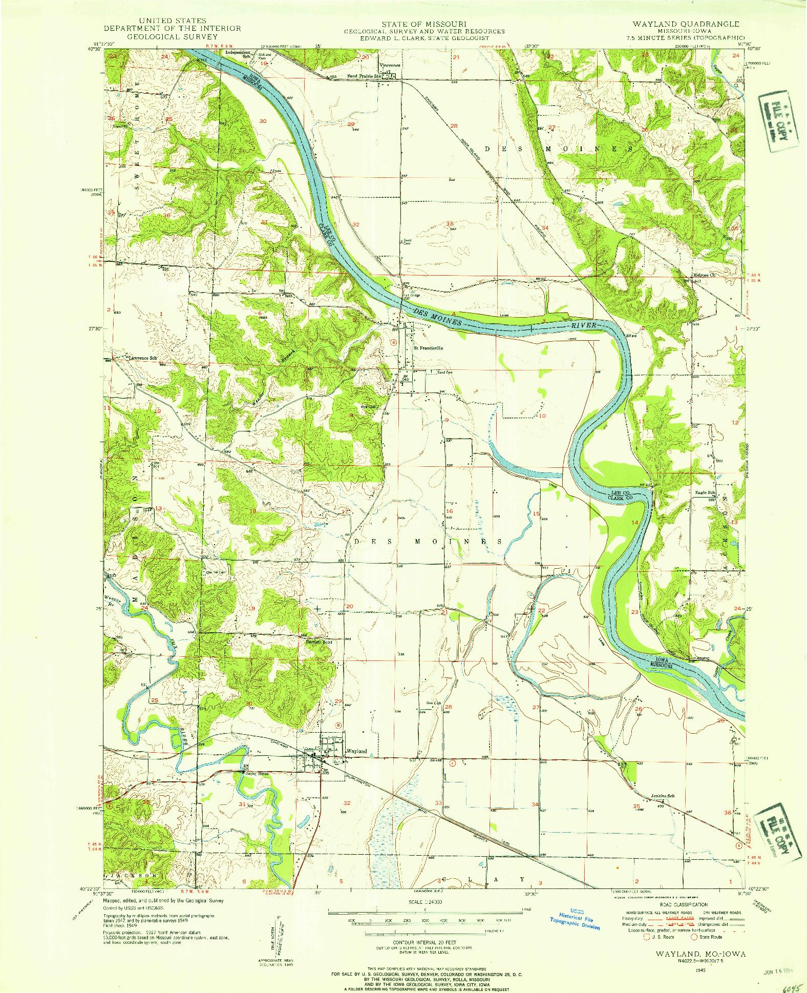 USGS 1:24000-SCALE QUADRANGLE FOR WAYLAND, MO 1949