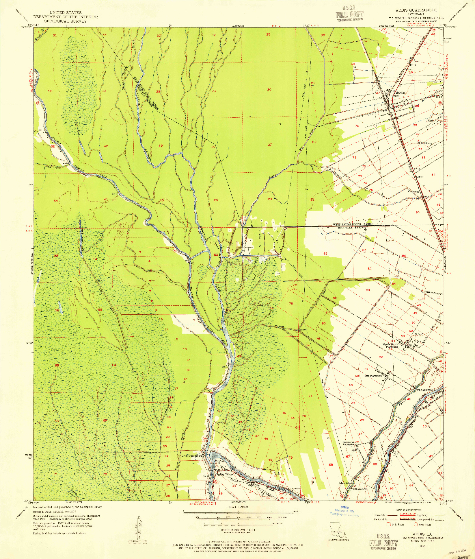 USGS 1:24000-SCALE QUADRANGLE FOR ADDIS, LA 1953