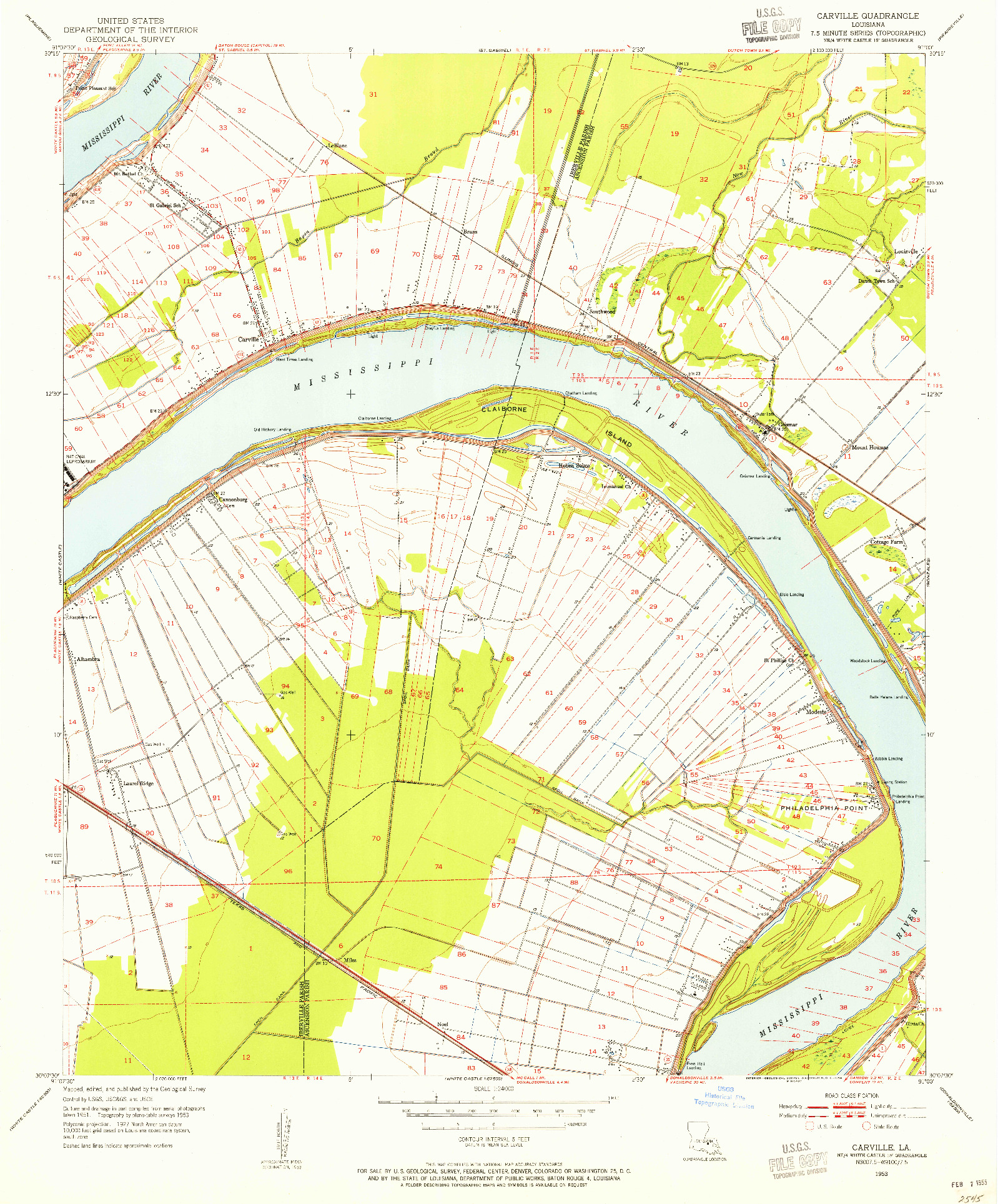 USGS 1:24000-SCALE QUADRANGLE FOR CARTERVILLE, LA 1953