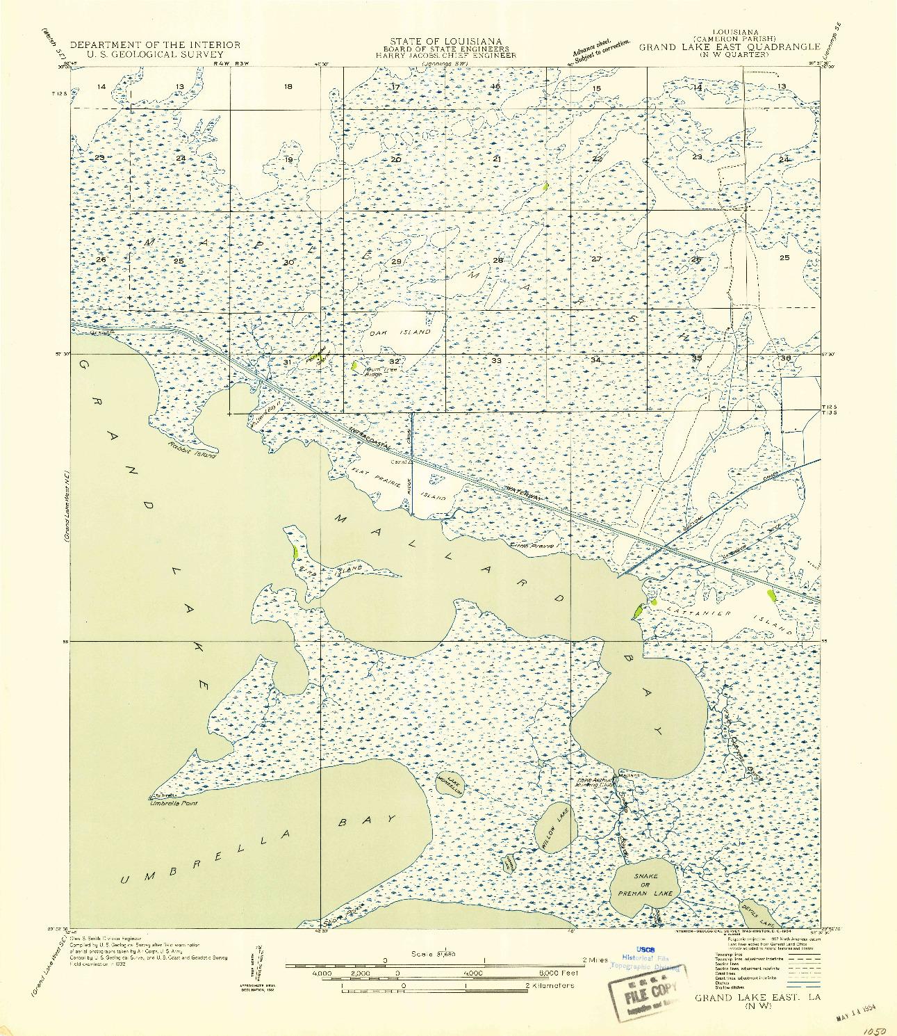 USGS 1:31680-SCALE QUADRANGLE FOR GRAND LAKE EAST NW, LA 1954