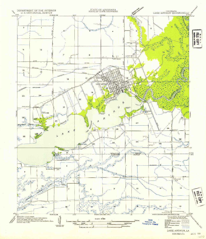 USGS 1:31680-SCALE QUADRANGLE FOR LAKE ARTHUR, LA 1954