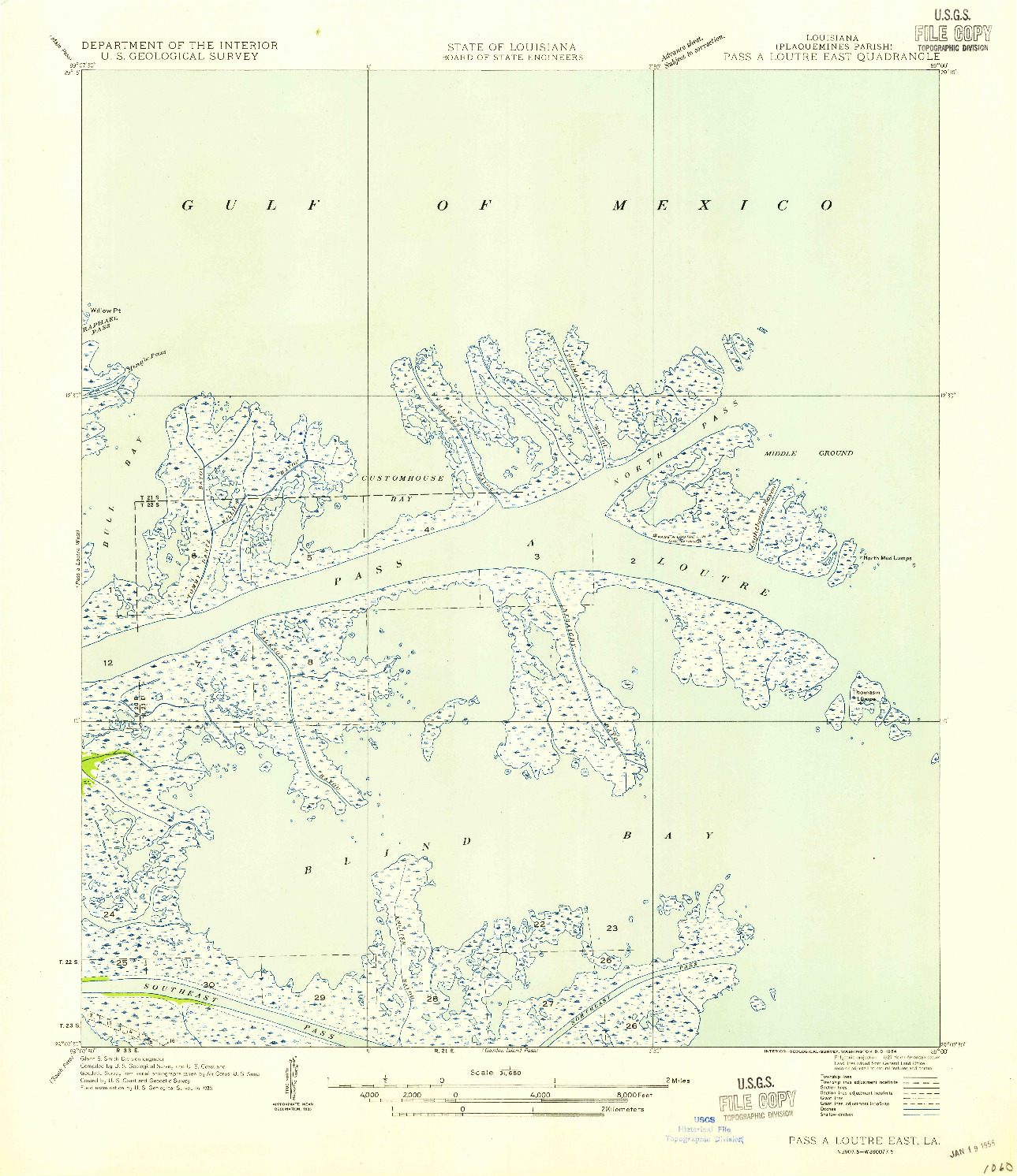 USGS 1:31680-SCALE QUADRANGLE FOR PASS A LOUTRE EAST, LA 1954