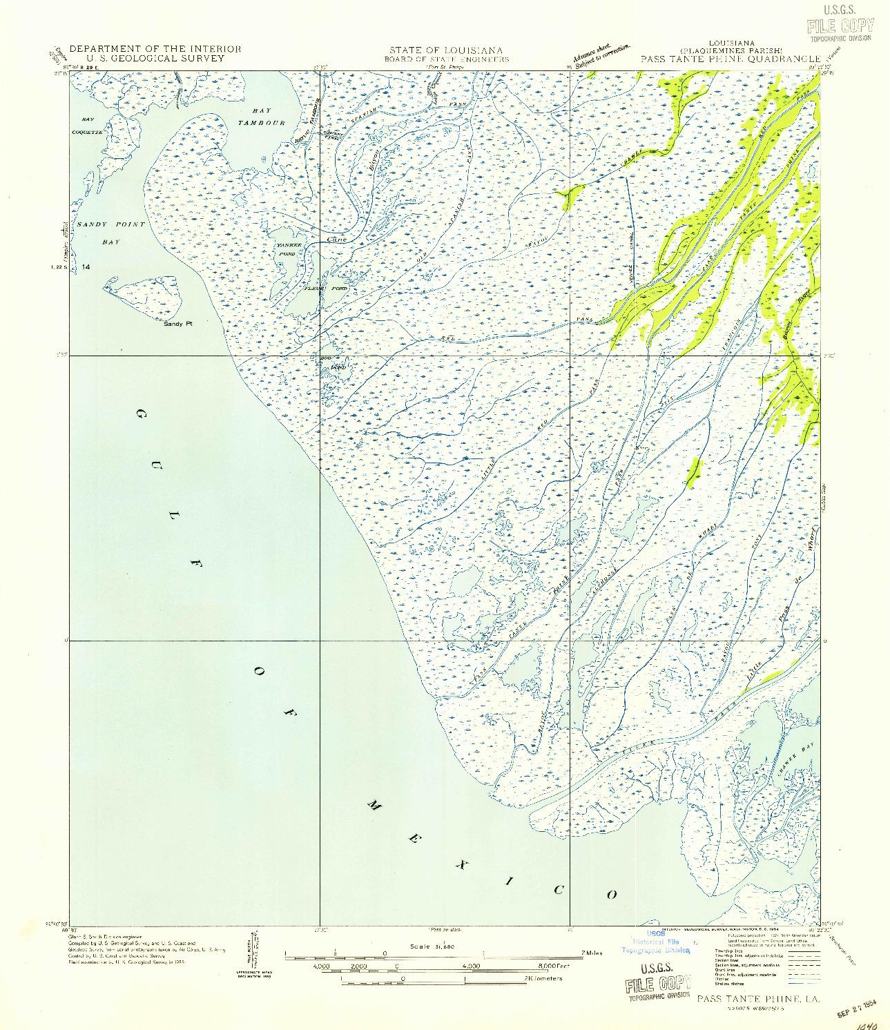 USGS 1:31680-SCALE QUADRANGLE FOR PASS TANTE PHINE, LA 1954