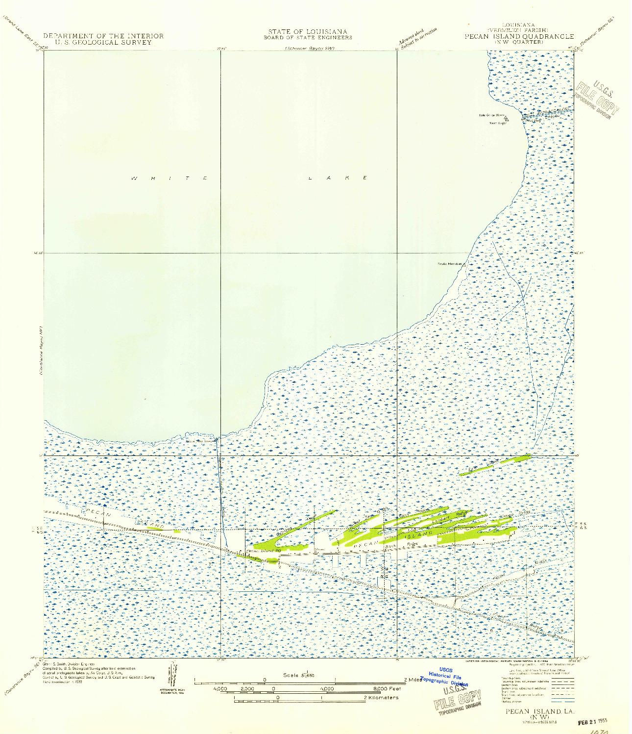 USGS 1:31680-SCALE QUADRANGLE FOR PECAN ISLAND NW, LA 1954